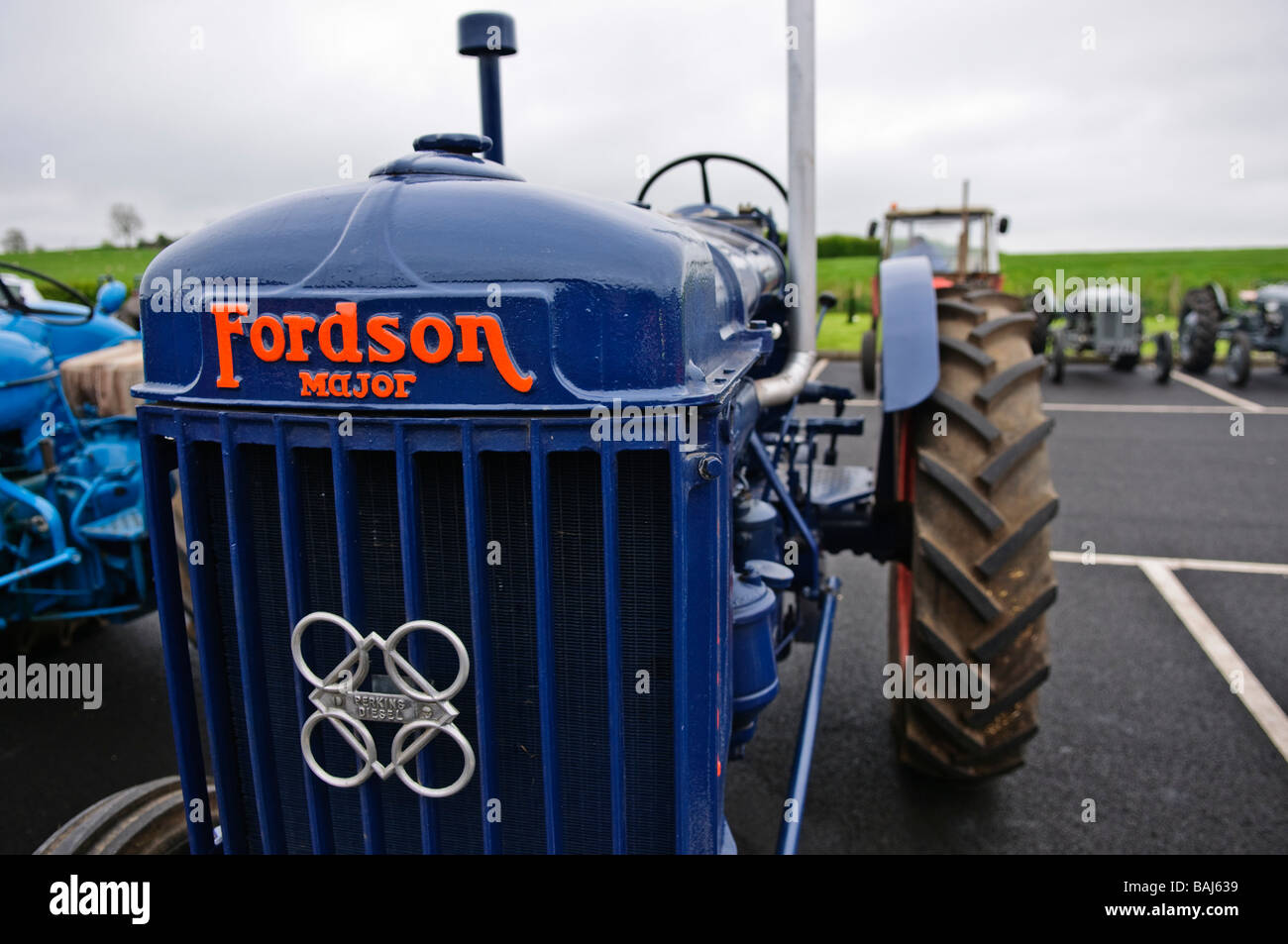 Front grille and badge of a blue vintage Fordson Major farm tractor showing a Perkins Diesel badge Stock Photo
