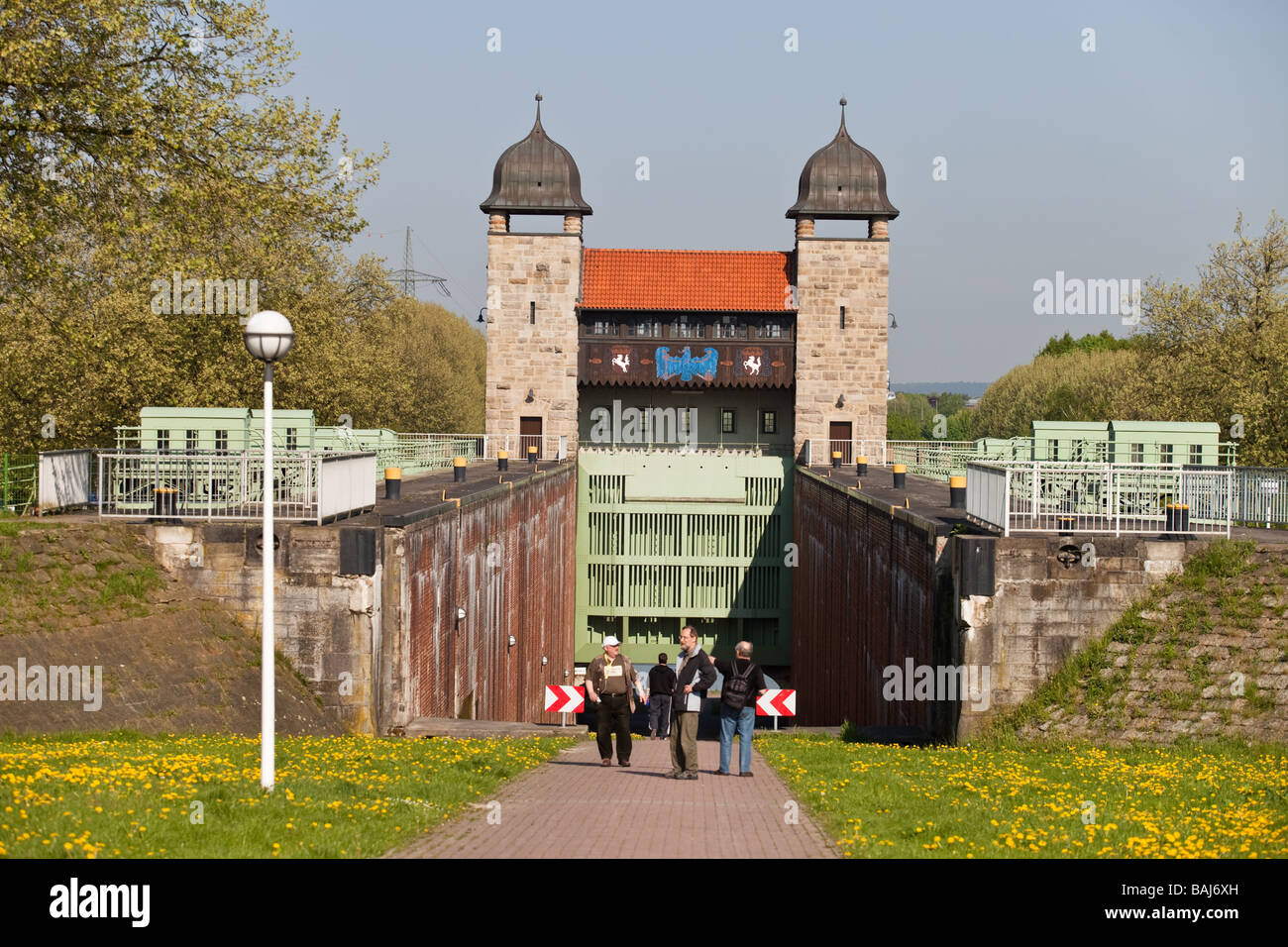 Old water gate in in the city of Waltrop, The Route of Industrial Culture , NRW,  North Rhine - Westphalia, Germany. - Stock Image