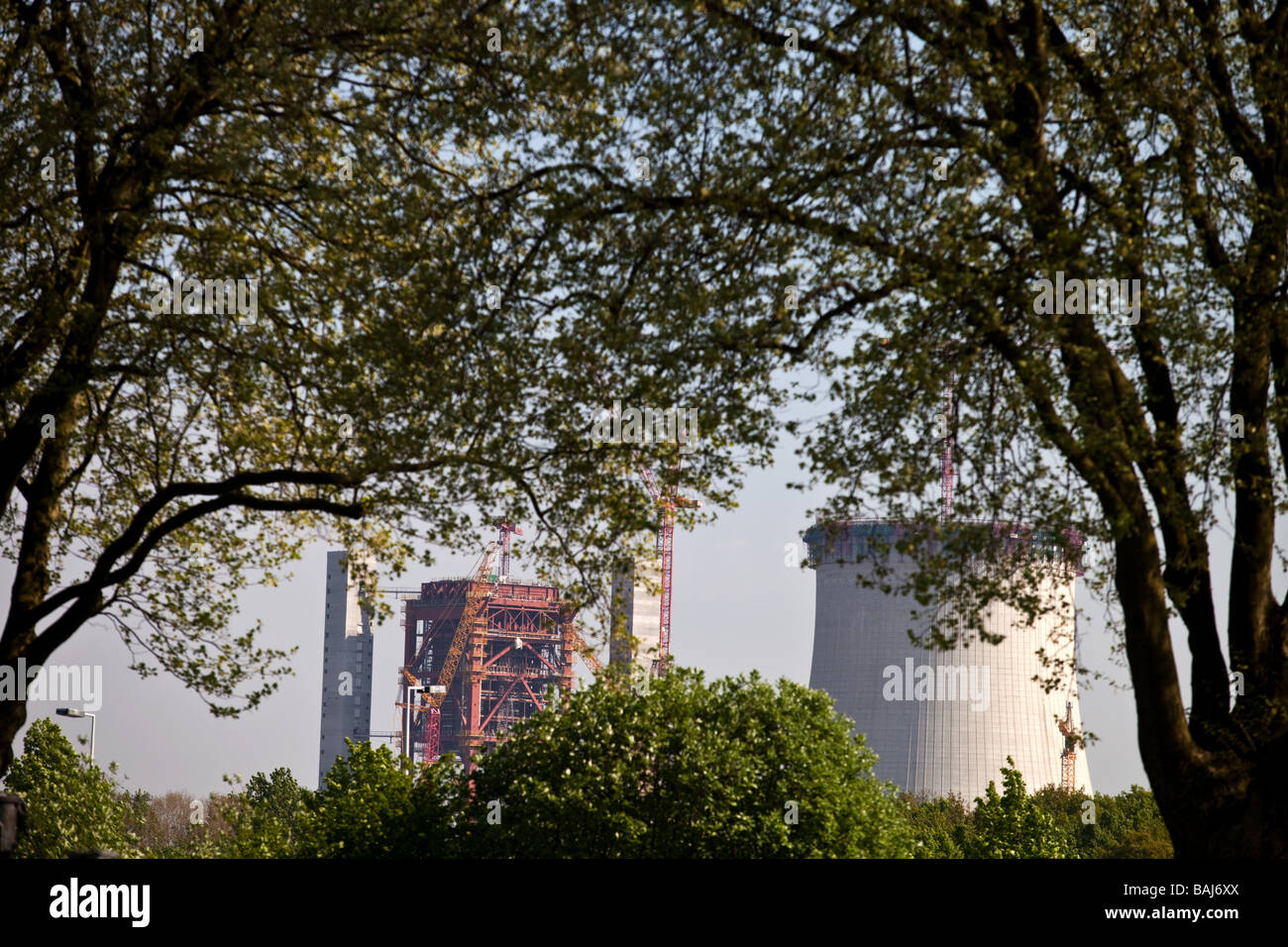 Landscape with nature and heavy industry, power station in NRW, North Rhine - Westphalia, Dortmund, Germany. - Stock Image