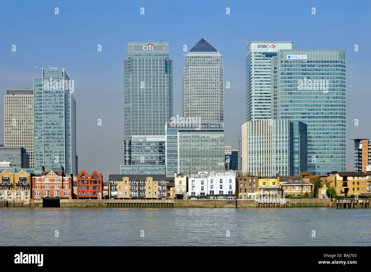 High rise offices and riverside apartments in the Canary ...