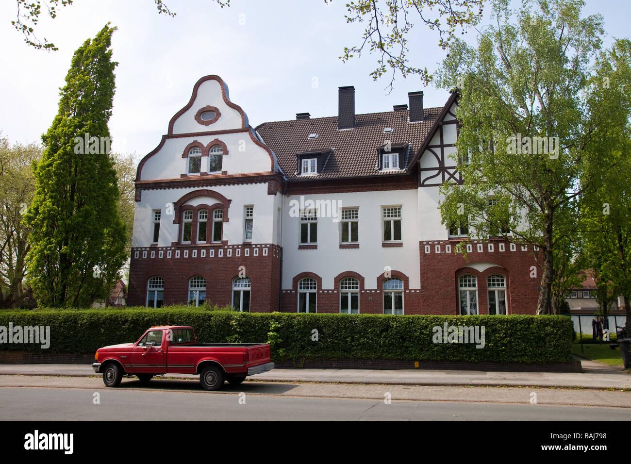 Works housing in the Landwehr colony, next to Zeche Zollern, Dortmund, NRW, North Rhine - Westphalia, Germany. - Stock Image