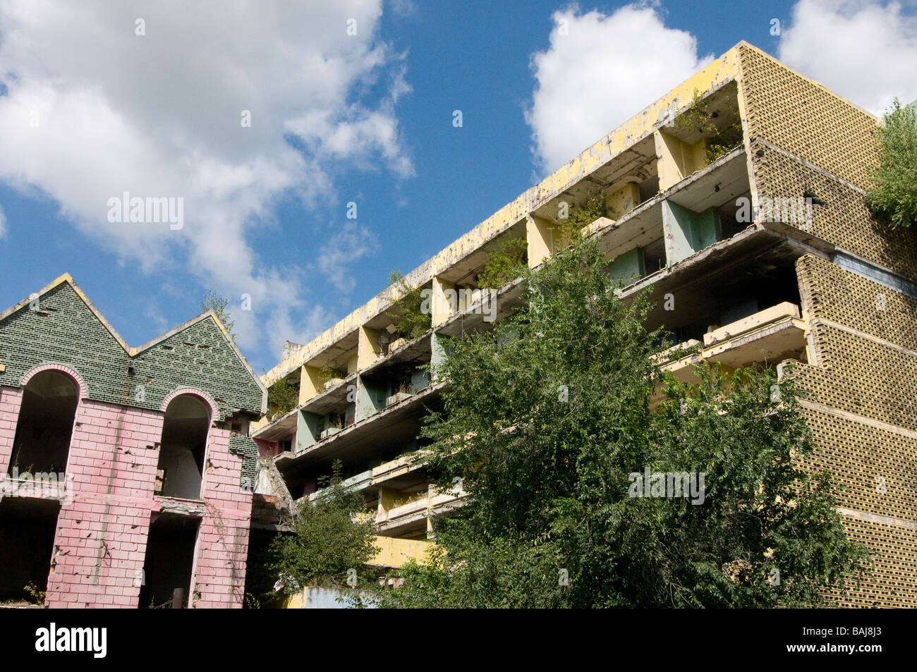 Buildings destroyed by war Sarajevo Bosnia Eastern Europe - Stock Image