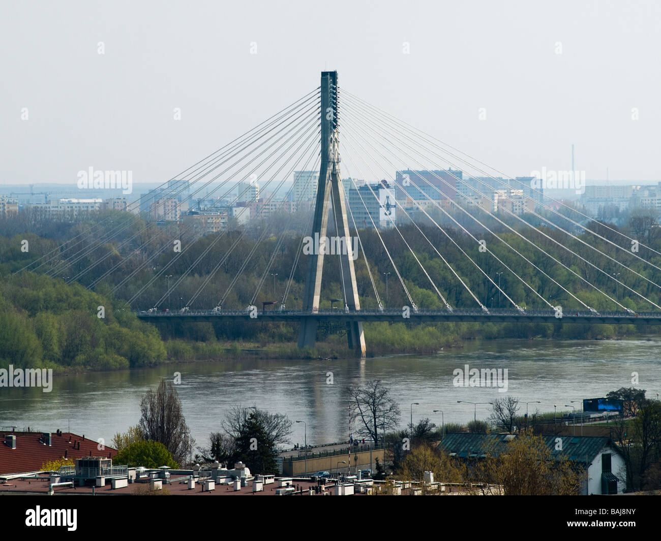 Suspension bridge opened in 2000 to join Praga district and city center of Warsaw - Stock Image