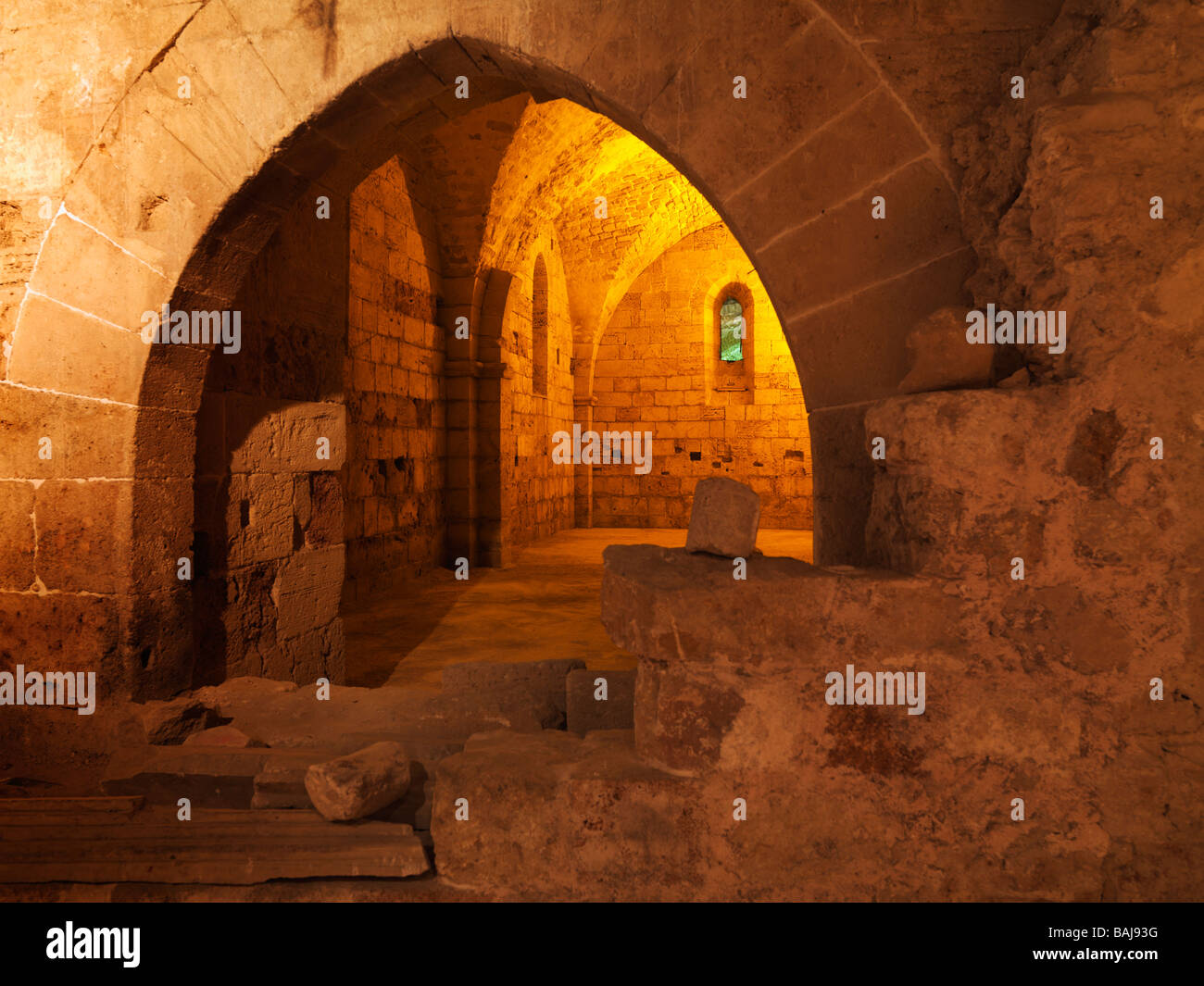 Israel Akko the Hospitaller Fortress the Crusaders underground city - Stock Image