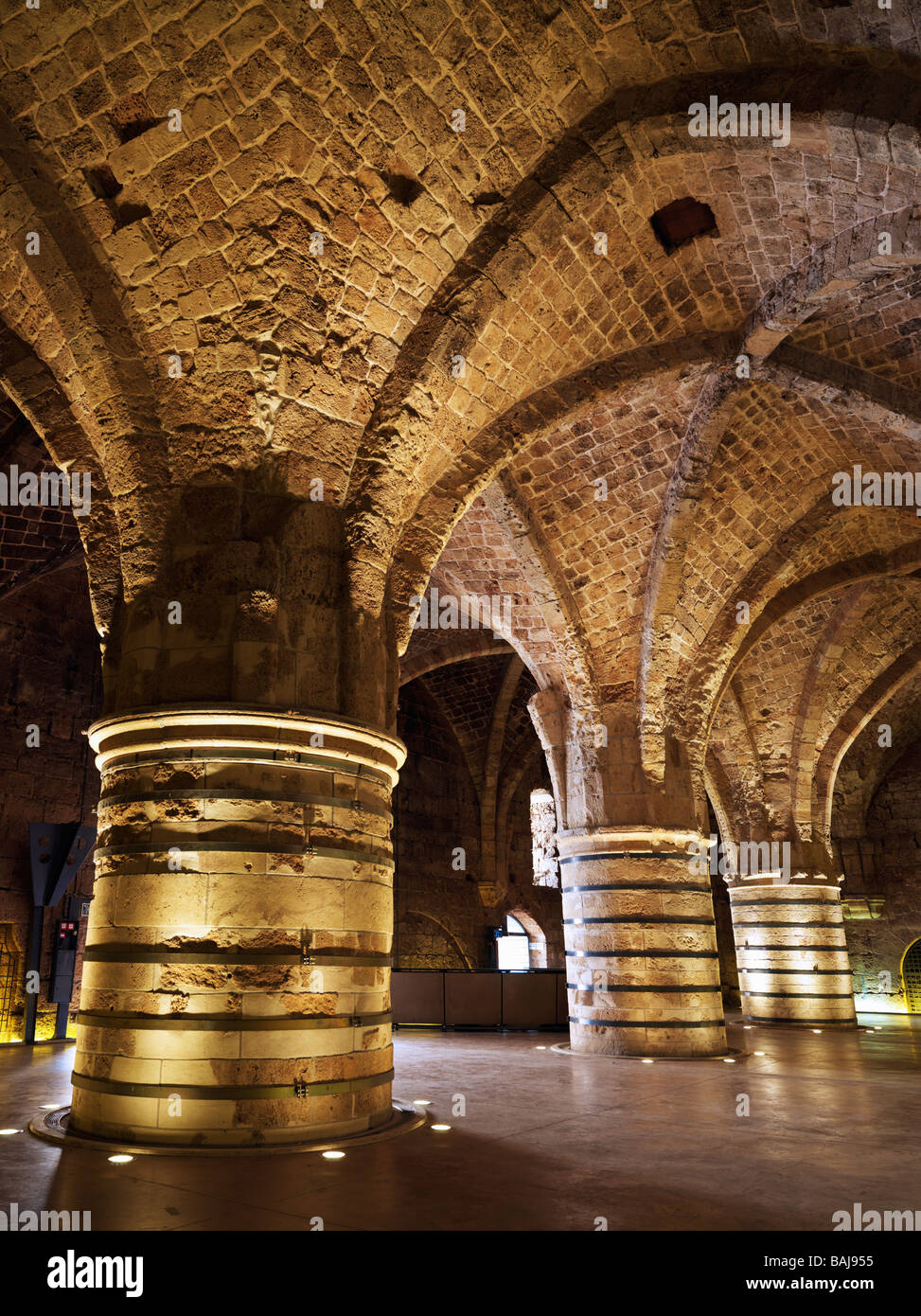 Israel Akko the Hospitaller Fortress the Crusaders underground city,Knights Hall - Stock Image
