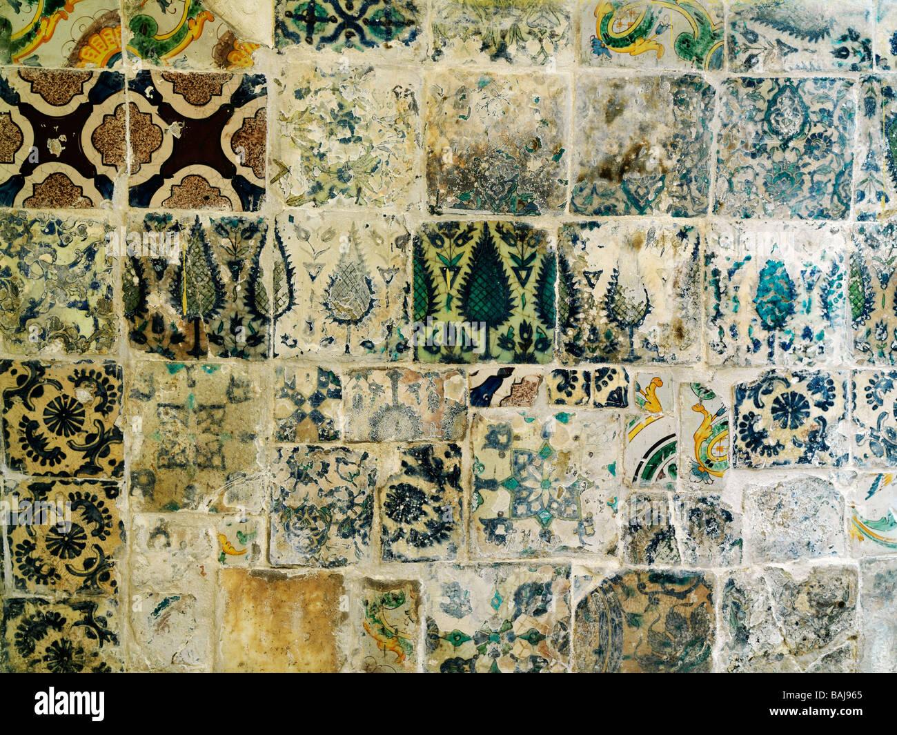 Israel Akko El Basha Bath-House wall tiles - Stock Image