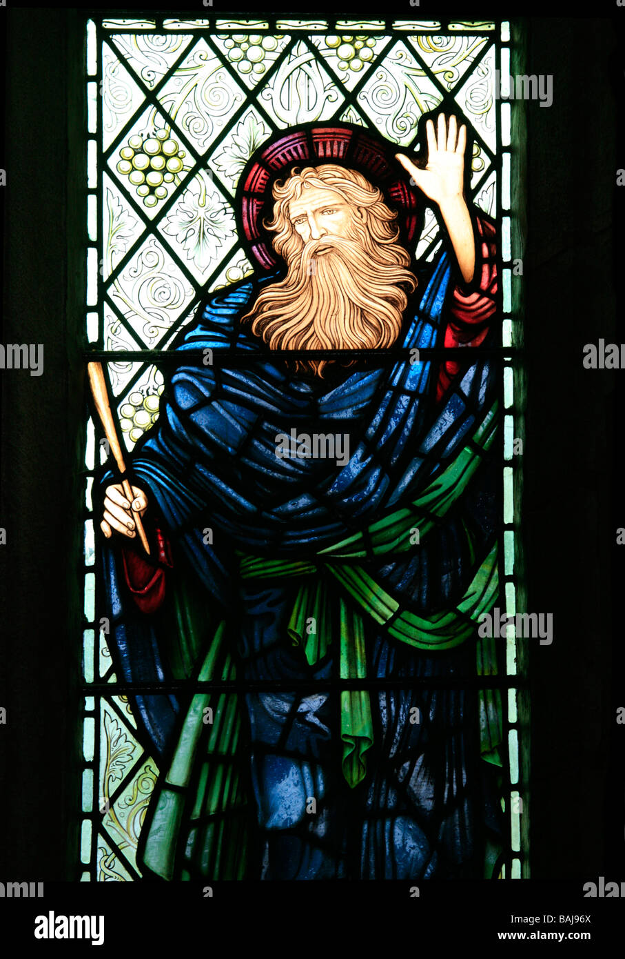 Depiction of the Prophet Ezekiel in a Stained Glass Window by Edward BurneJones - Stock Image