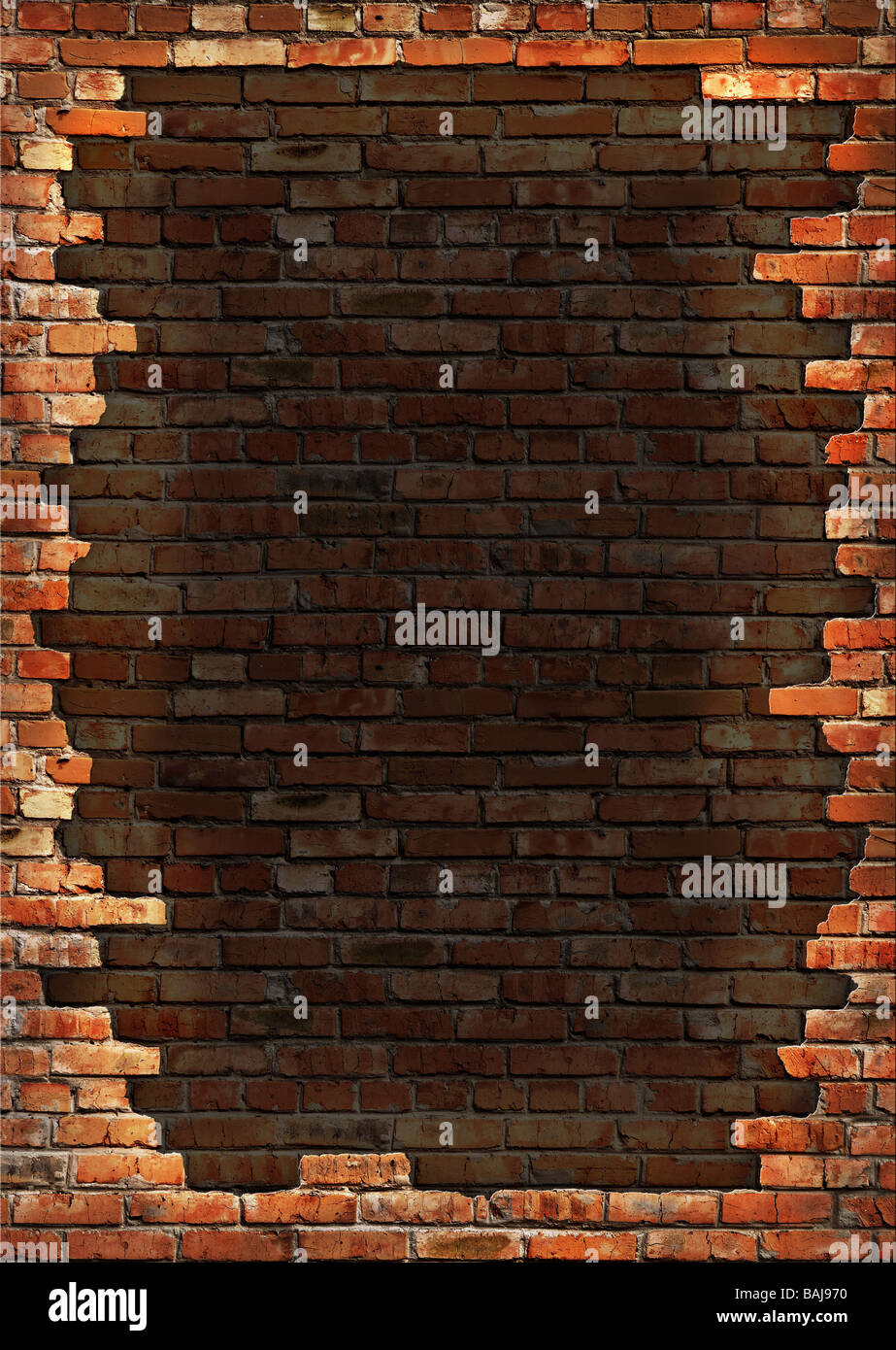 Dark red brick wall grungy background - Stock Image