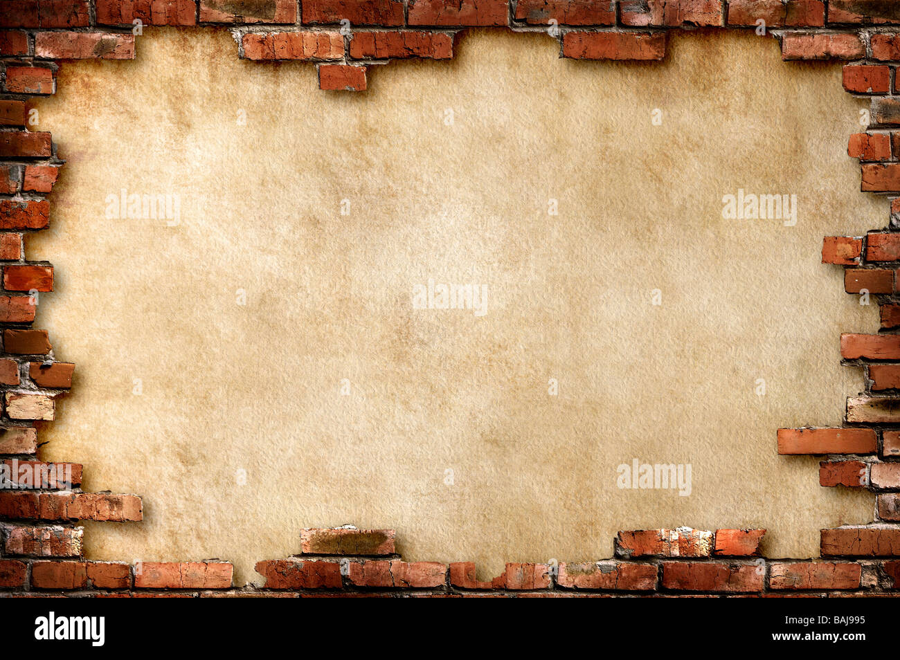 Grungy parchment paper background surrounded by red brick frame - Stock Image