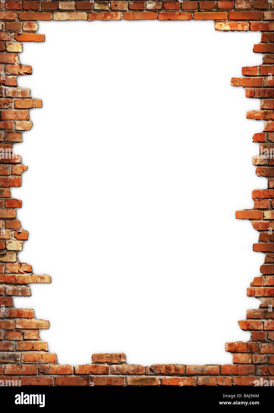 White background with brick wall framing - Stock Image