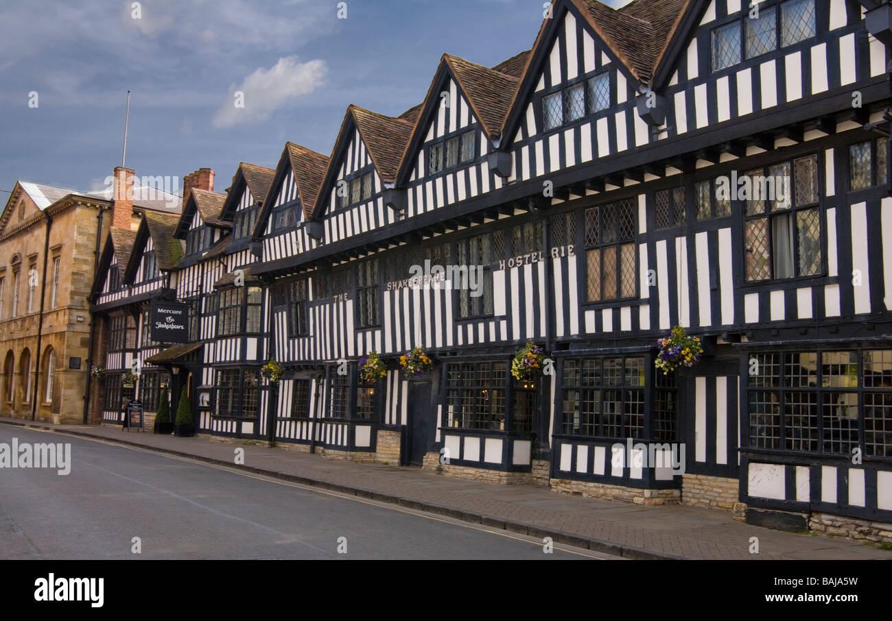 row of half timbered buildings along Church Street Stratford upon Avon Stock Photo