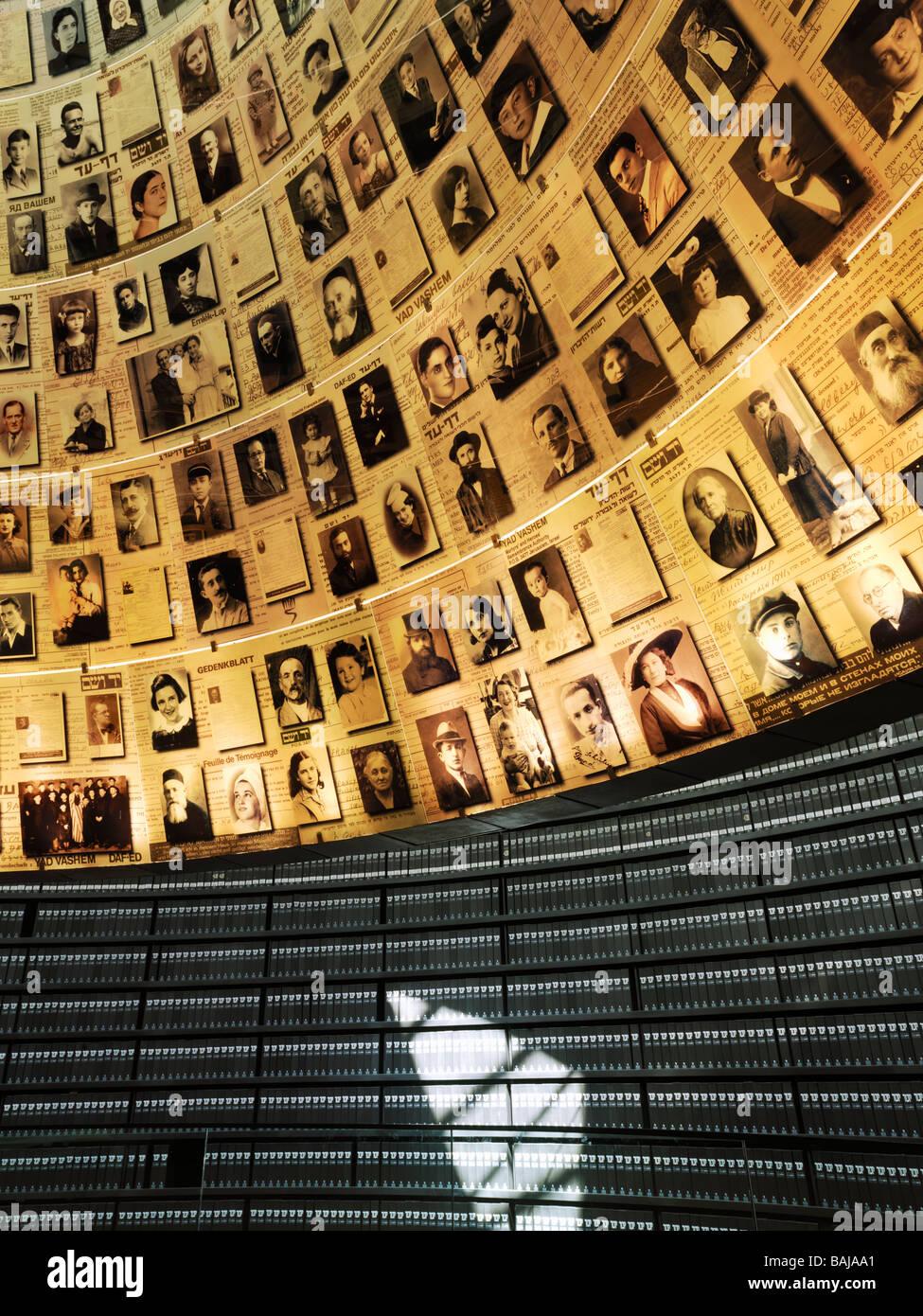Israel Jerusalem Yad Vashem Hall of Names,volumes of Holocaust victims - Stock Image