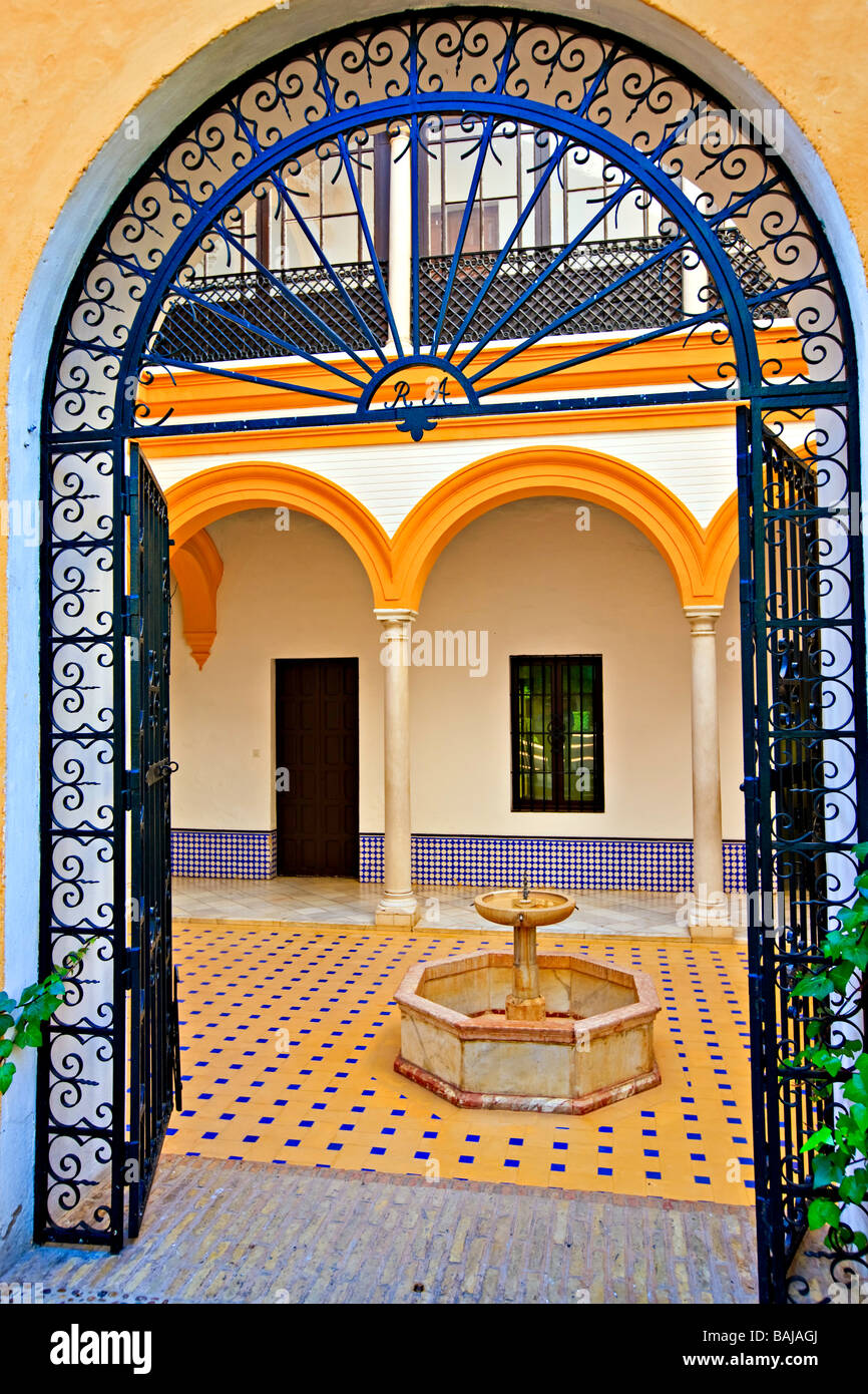 Entrance to a courtyard in the Reales Alcazares (Royal Palace) - a UNESCO World Heritage Site,Santa Cruz District, Stock Photo