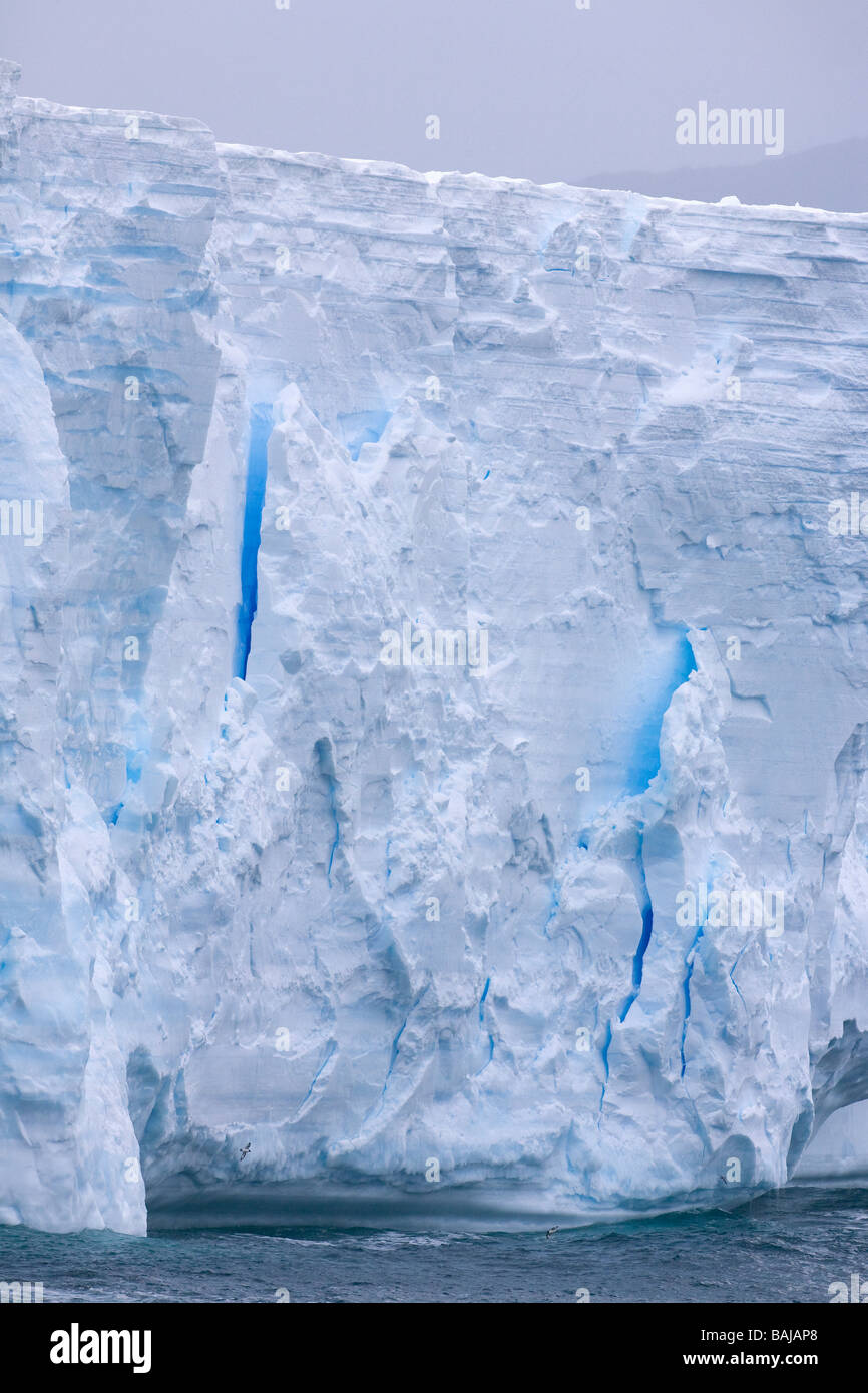 Blue tabular iceberg near Cooper Bay South Georgia Antarctica - Stock Image