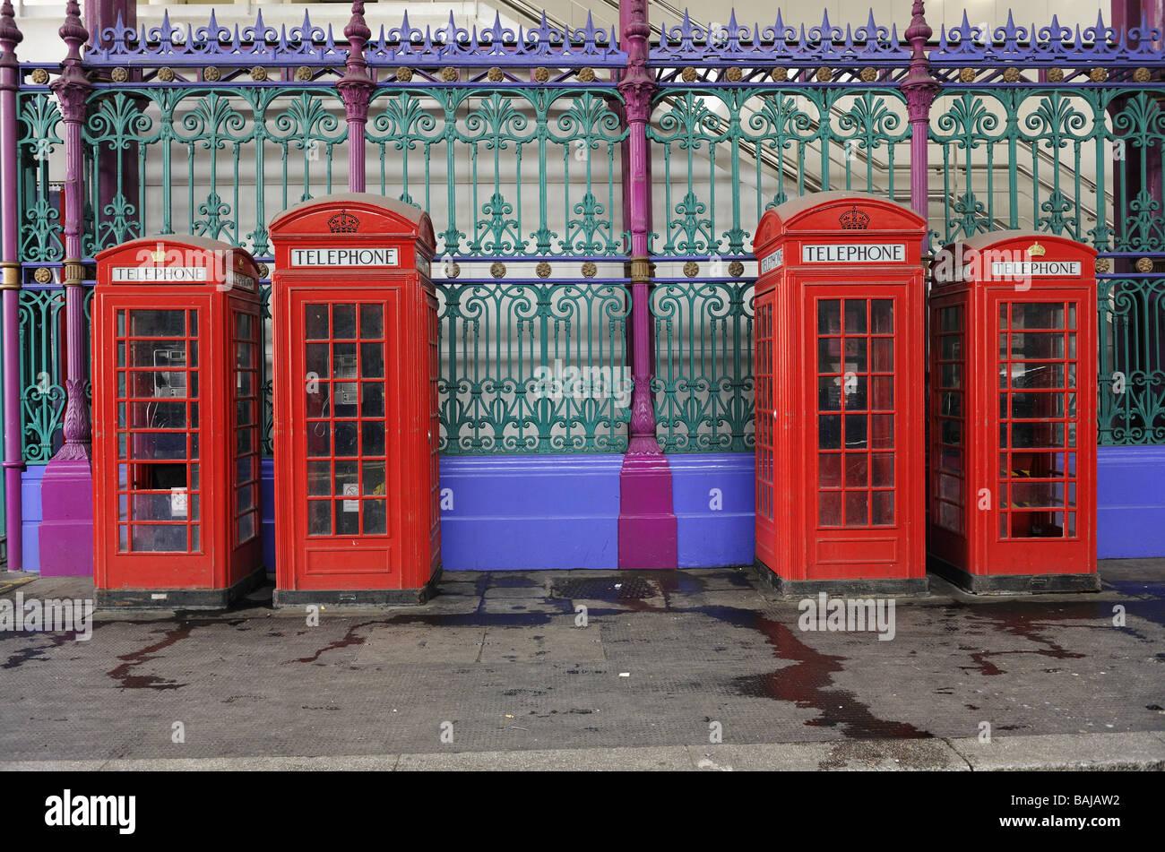 K2 and K6 Telephone Boxes, Smithfield Market, London, UK - Stock Image