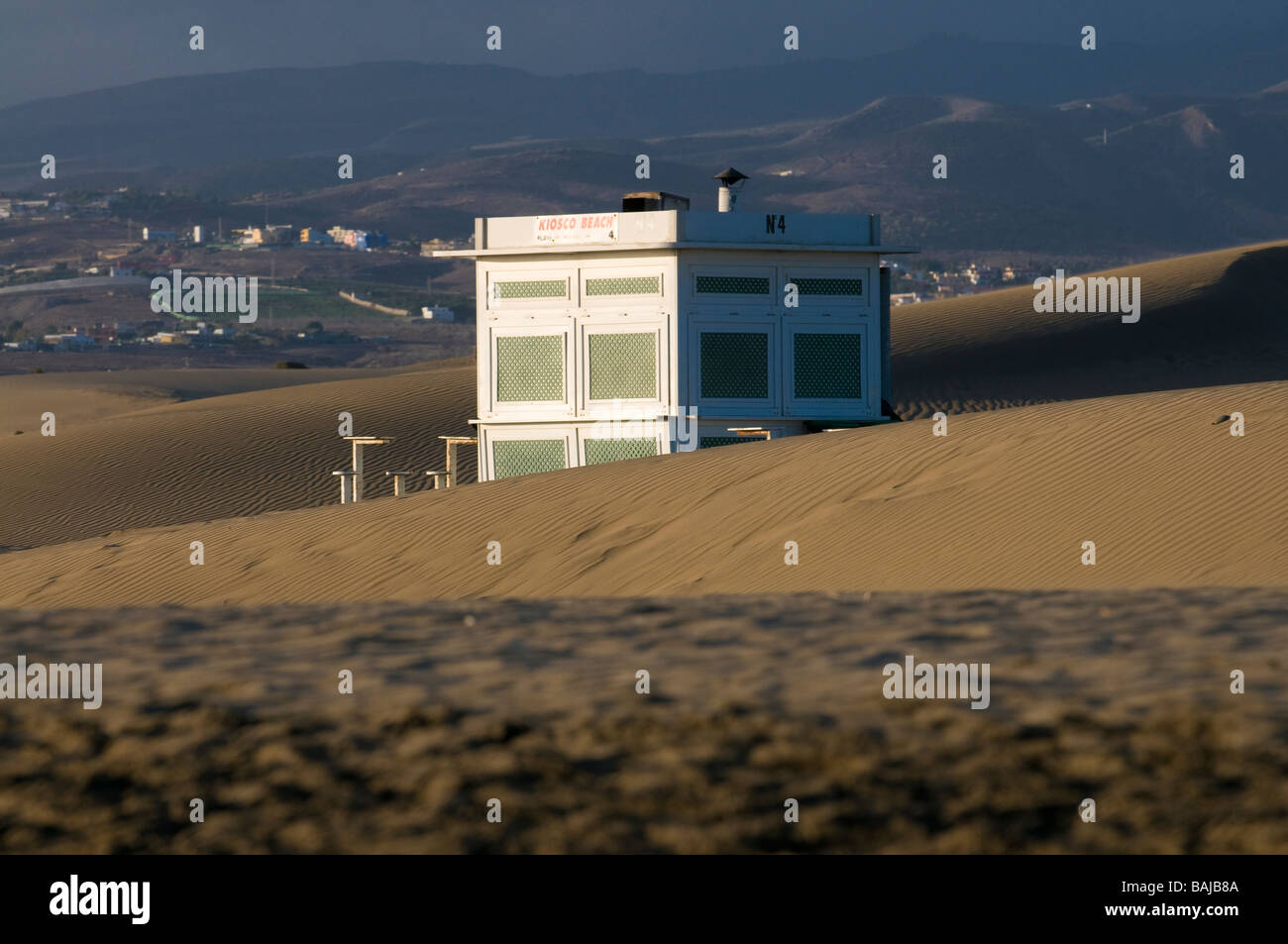 A closed beach restaurant at the beach of Maspalomas Gran Canaria Canary Islands Spain Stock Photo