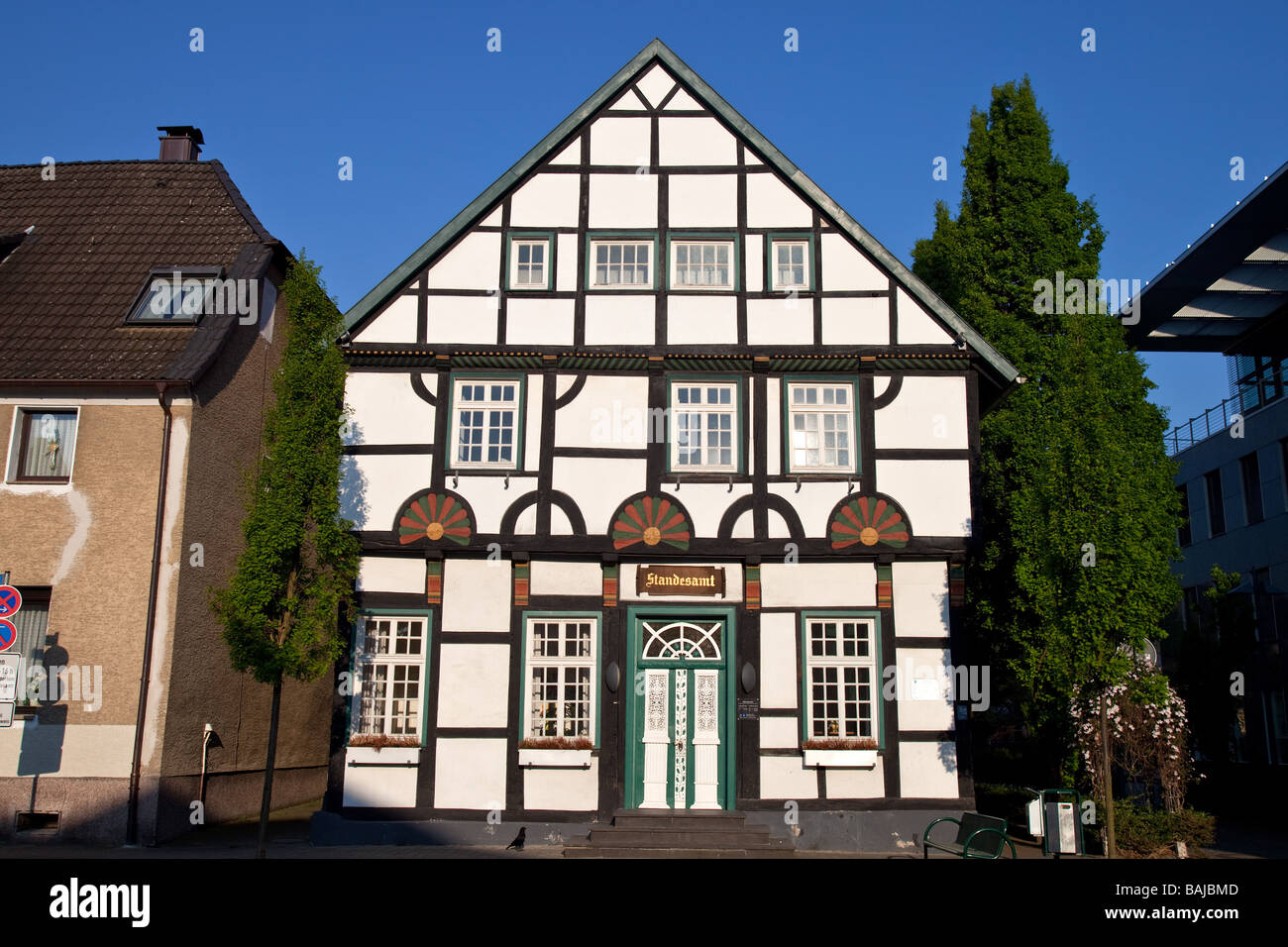 Old fachwerk house in Unna, Germany. The Route of Industrial Culture , NRW,  North Rhine - Westphalia, - Stock Image