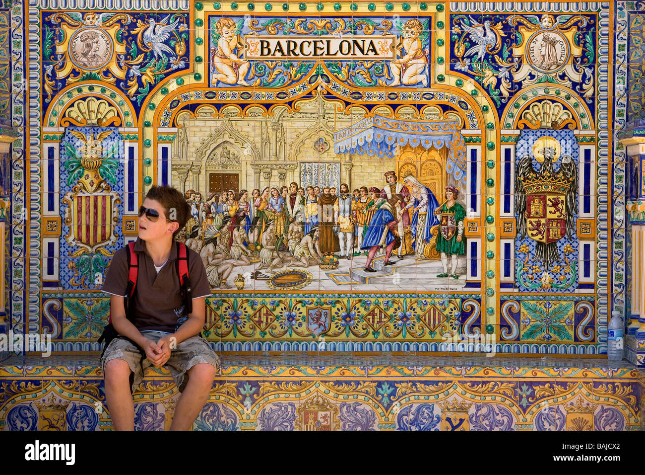 Spain, Andalusia, Seville, Plaza de Espana built by architect Anibal Gonzalez for the 1929 Spanish American Exhibition - Stock Image