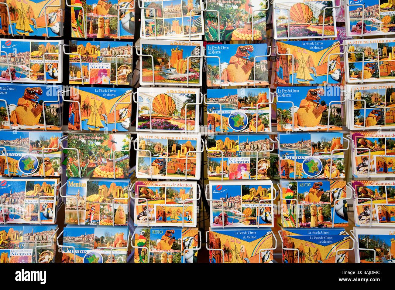 France, Alpes Maritimes, Menton,  the Fete du Citron (Lemon Festival) 2008,  theme the islands of the world, postcard - Stock Image