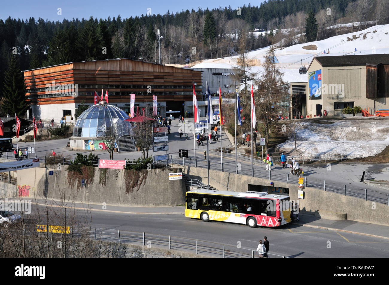 Lift station at Flims Dorf in the resort of Laax Flims Switzerland - Stock Image