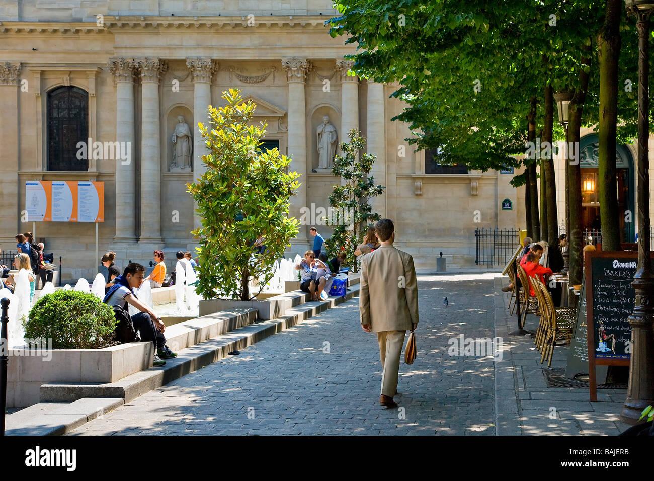 France, Paris, Quartier Latin, Place de la Sorbonne - Stock Image