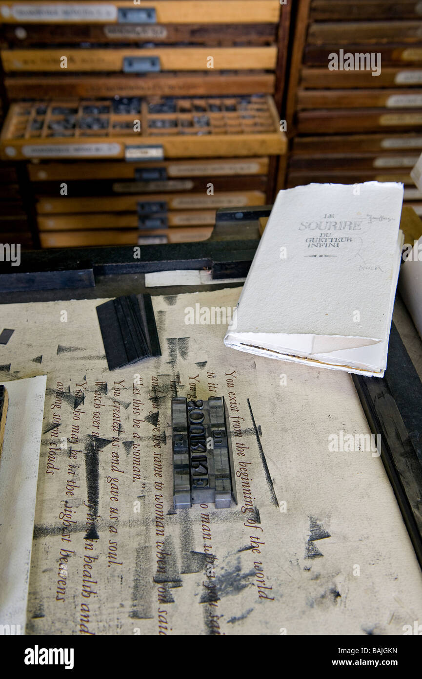 France, Yonne, Parly, Art Graphics center, Workshop typography - Stock Image