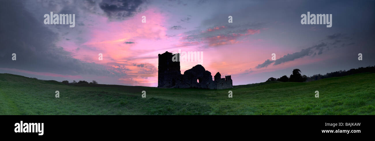 Knowlton is a small area in Dorset, England. Its most recognizable features are  ruined ruin of a Norman church - Stock Image