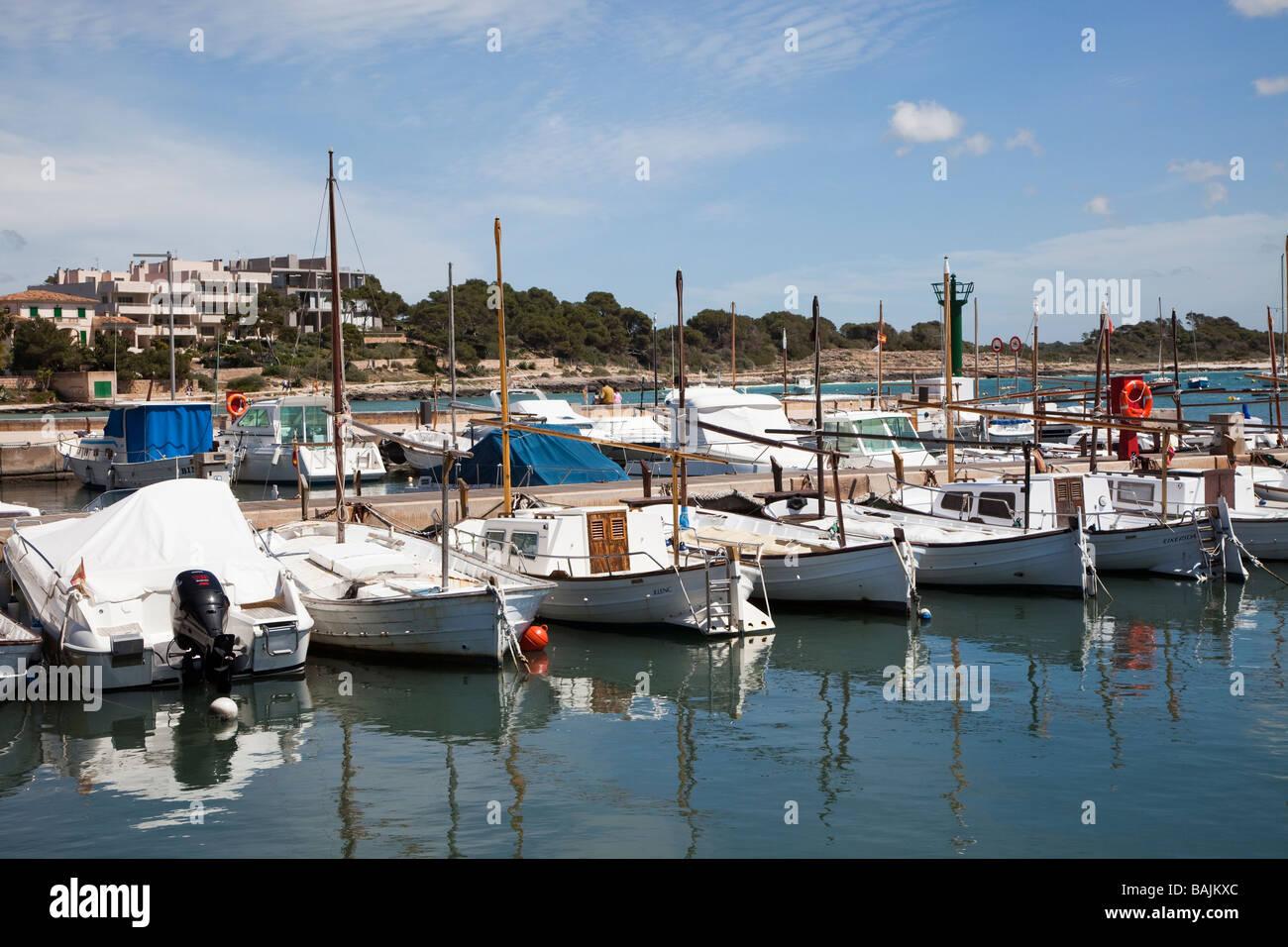 Fishing boats in harbour Colonia de Sant Jordi Mallorca Spain - Stock Image