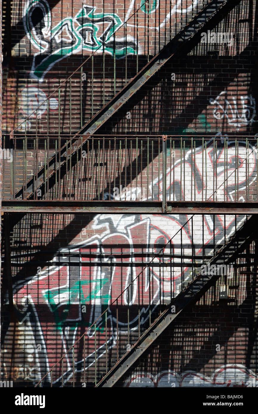 fire escape graffiti Boston Stock Photo
