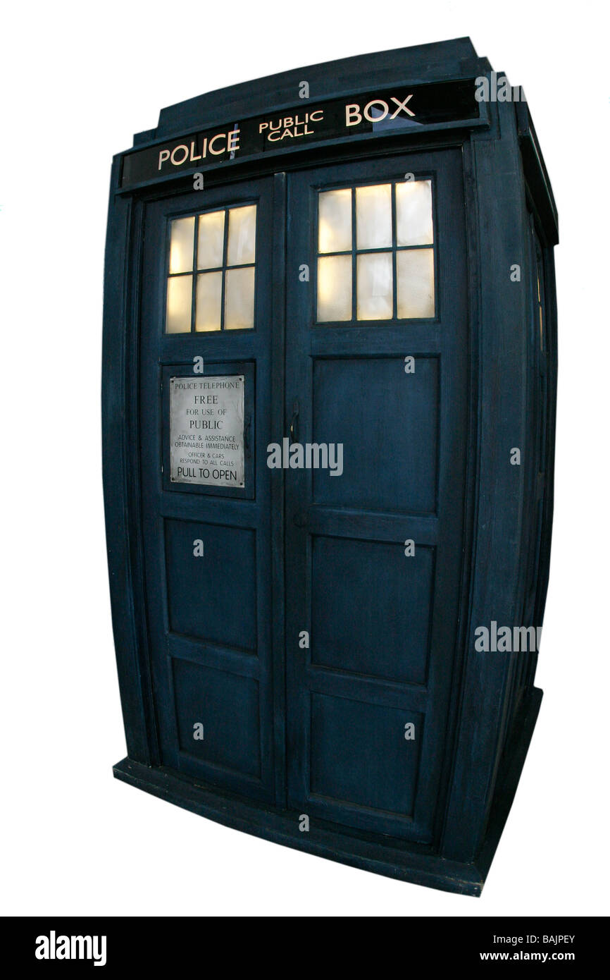 Dr Who Tardis time and relative dimensions in space Police Box - Stock Image