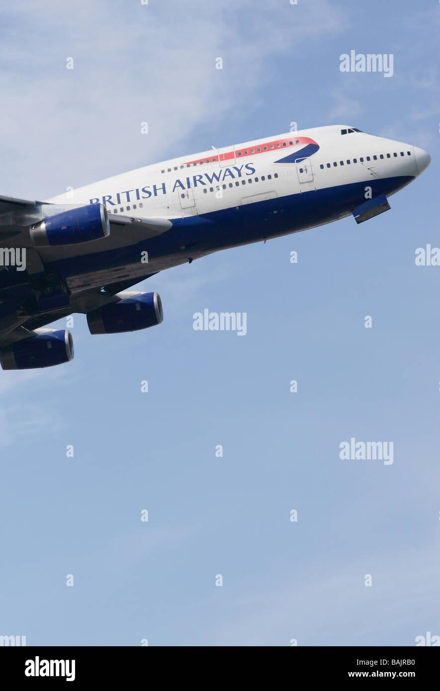 BA British Airways Boeing 747 jumbo jet taking off - Stock Image