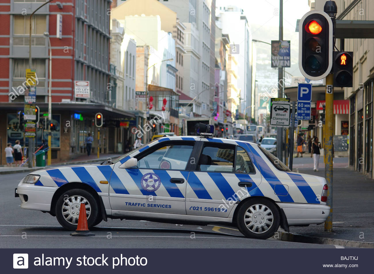 African POLICE car cars vehicle vehicles cop CAPE TOWN SOUTH AFRICA Stock Photo