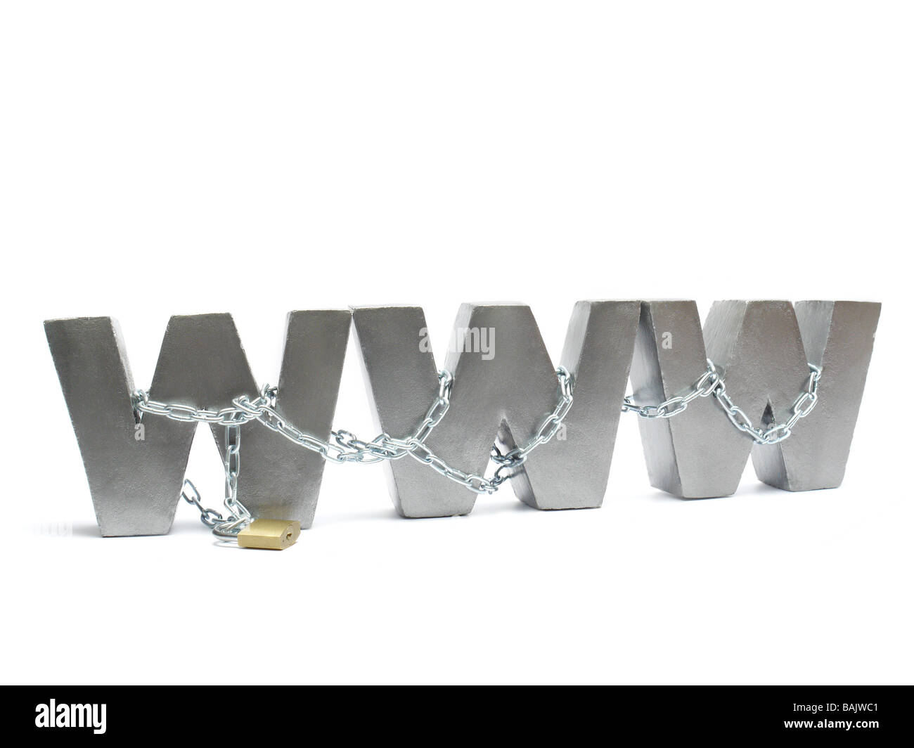 Three metal WWW letters chained and locked with golden padlock over white background - Stock Image