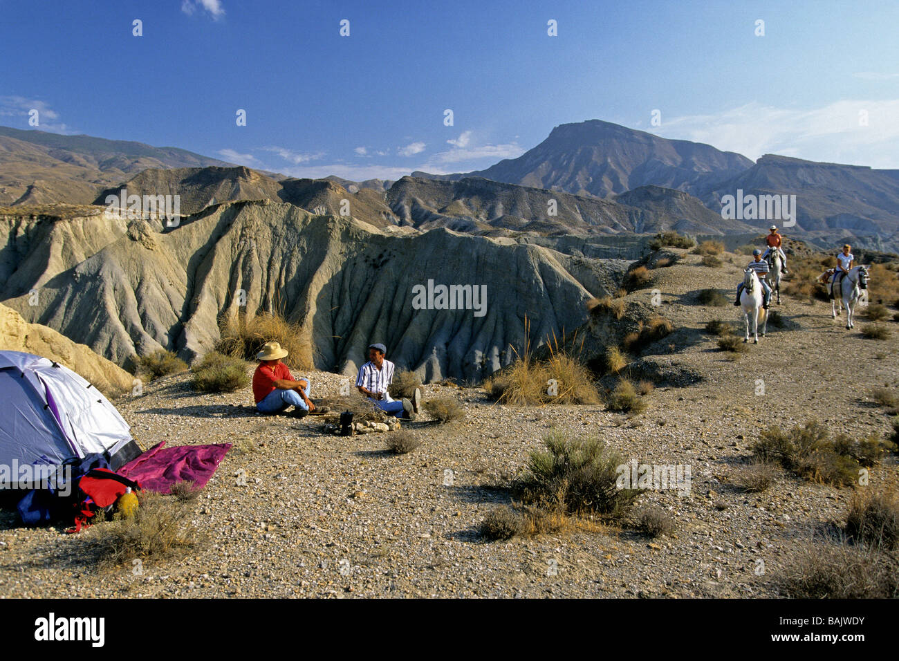 Spain, Andalucia, Tabernas Desert, Sierra Alhamilla, horse ride and camping site along the landscapes of Western - Stock Image
