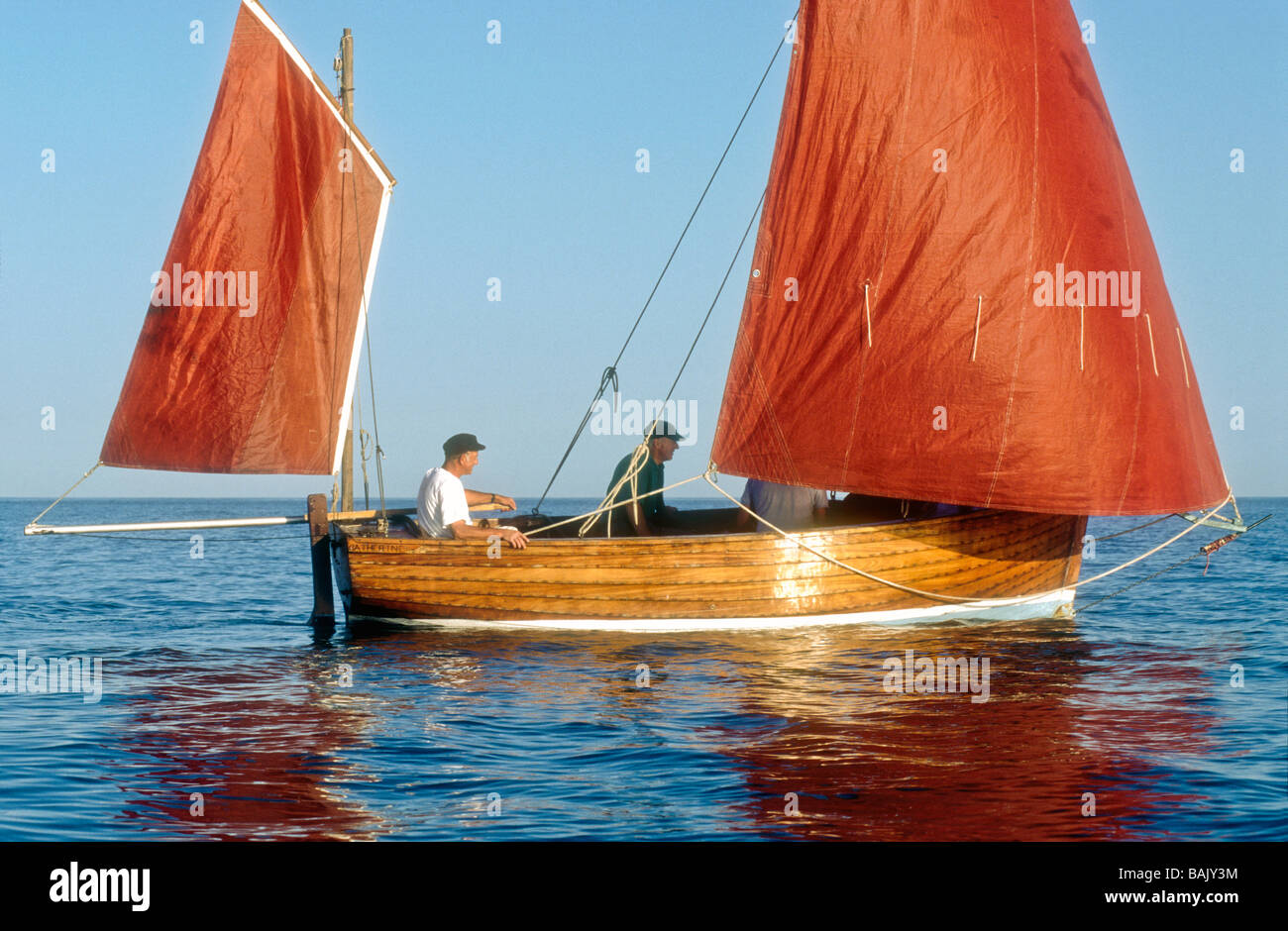 Sailing a Beer lugger boat Devon England UK Europe Stock Photo