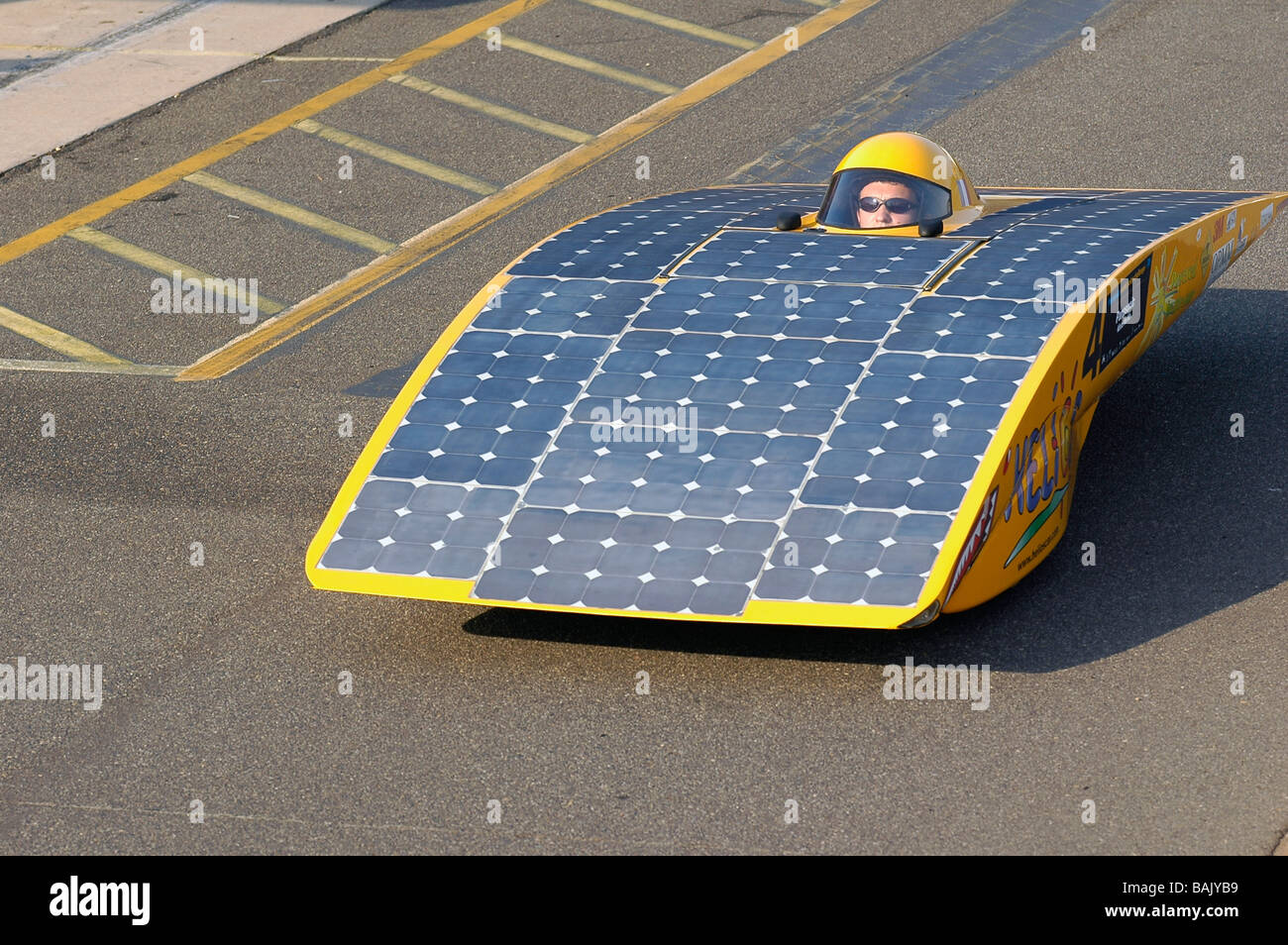 Solar cars taking part in the qualification rounds of the ...