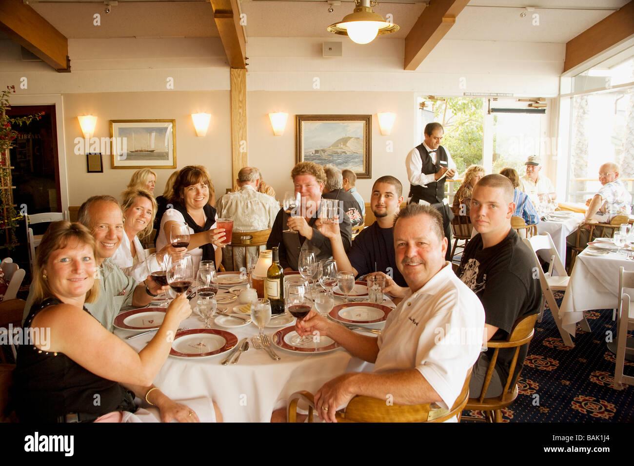 Sea Ray Club members dining at the Santa Barbara Yacht Club Santa Barbara Harbor - Stock Image