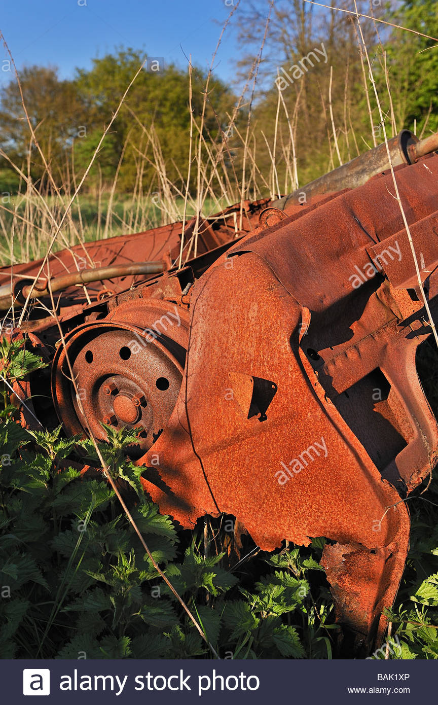Burnt Out Abandoned Vehicle On Stock Photos & Burnt Out Abandoned