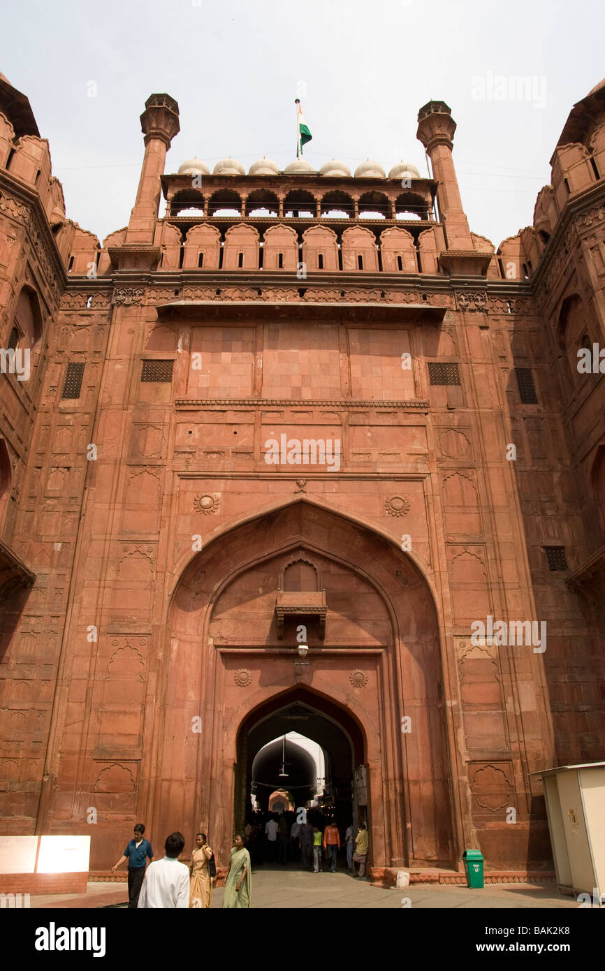 India Delhi The Red Fort Lahore Gate - Stock Image