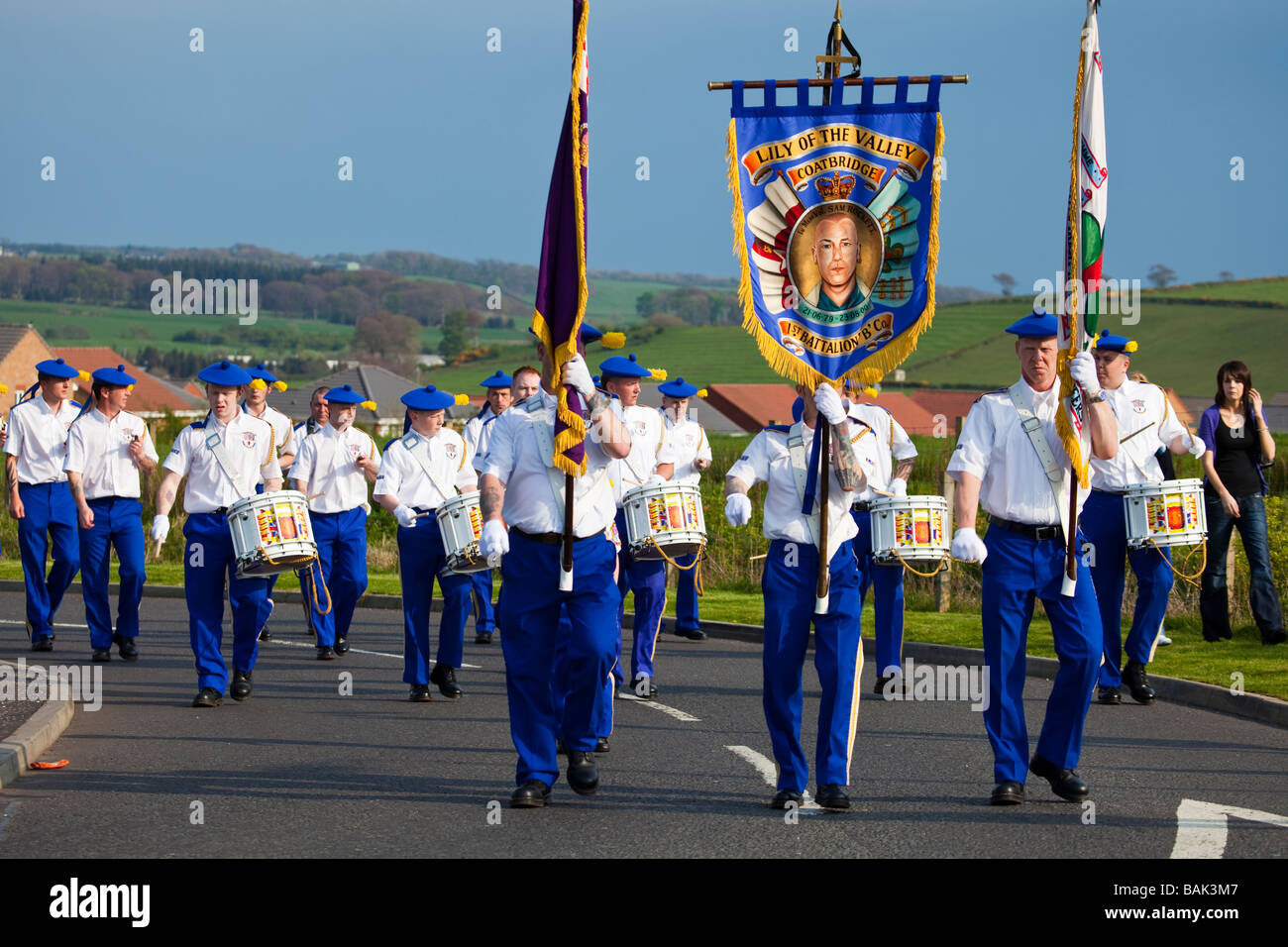 Coatbridge Lily of the Valley loyalist flute band on parade in Dalry, Ayrshire. - Stock Image