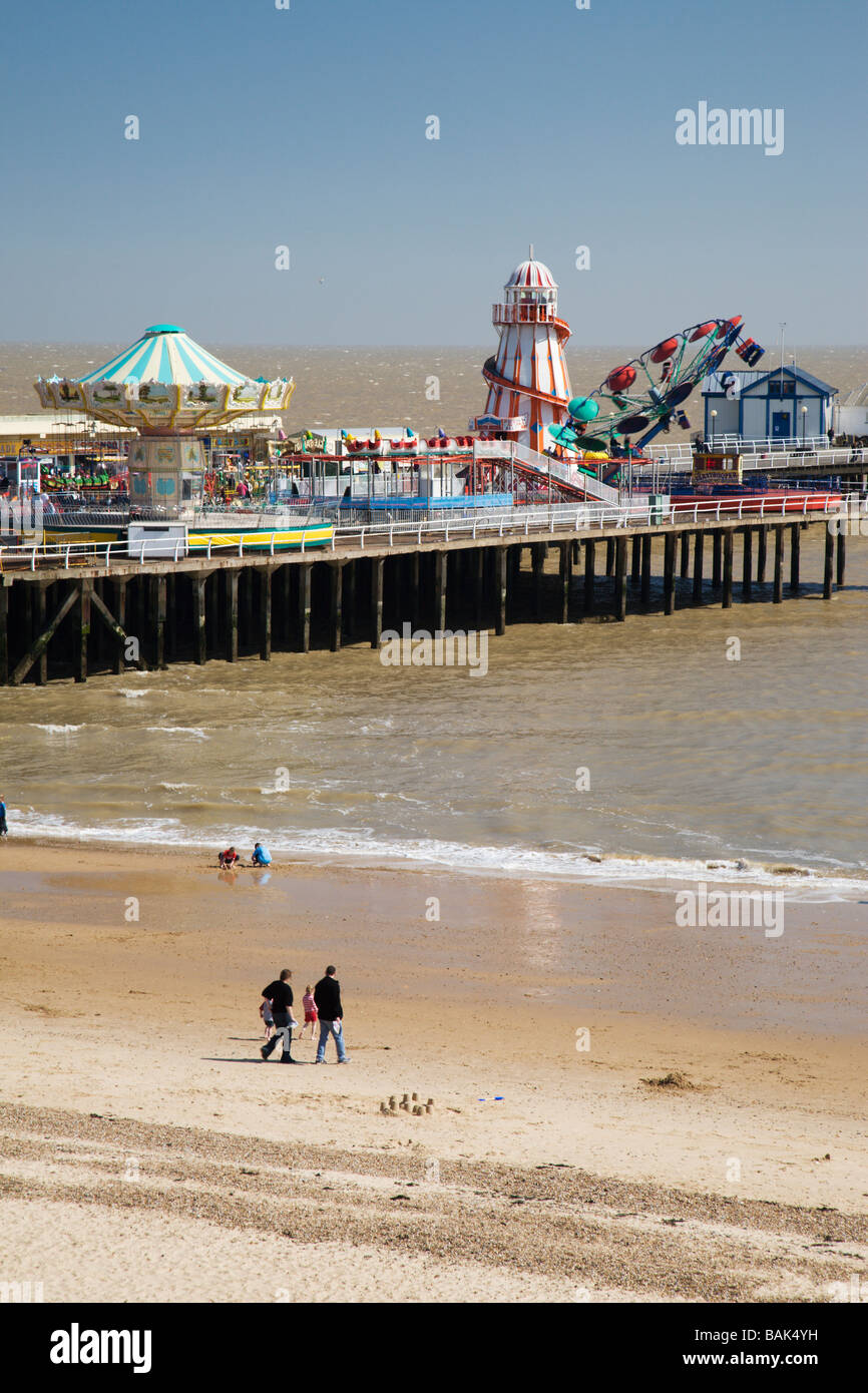 Clacton beach and Pier in Essex, England, UK. - Stock Image