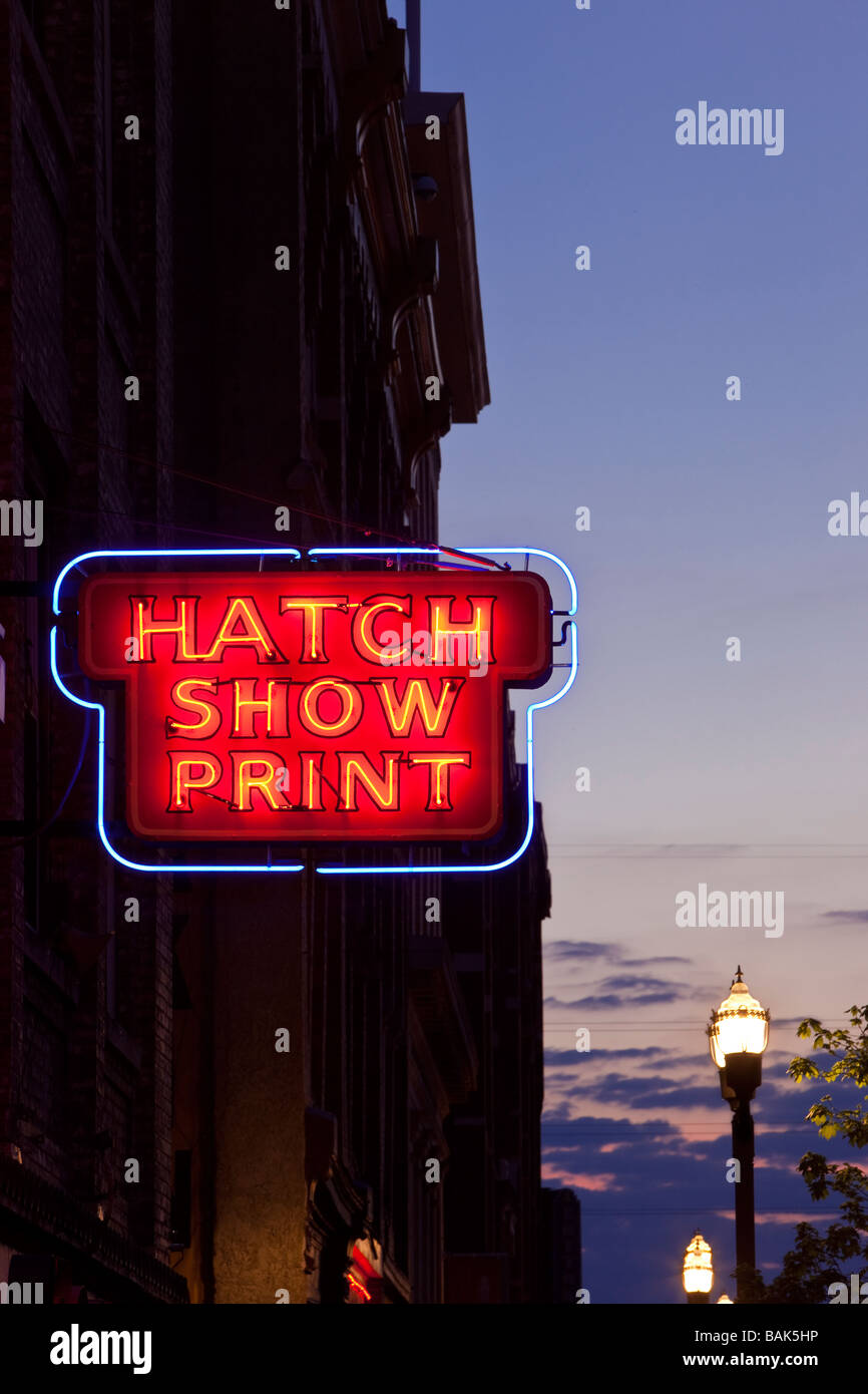 Neon sign in Nashville Tennessee - Stock Image