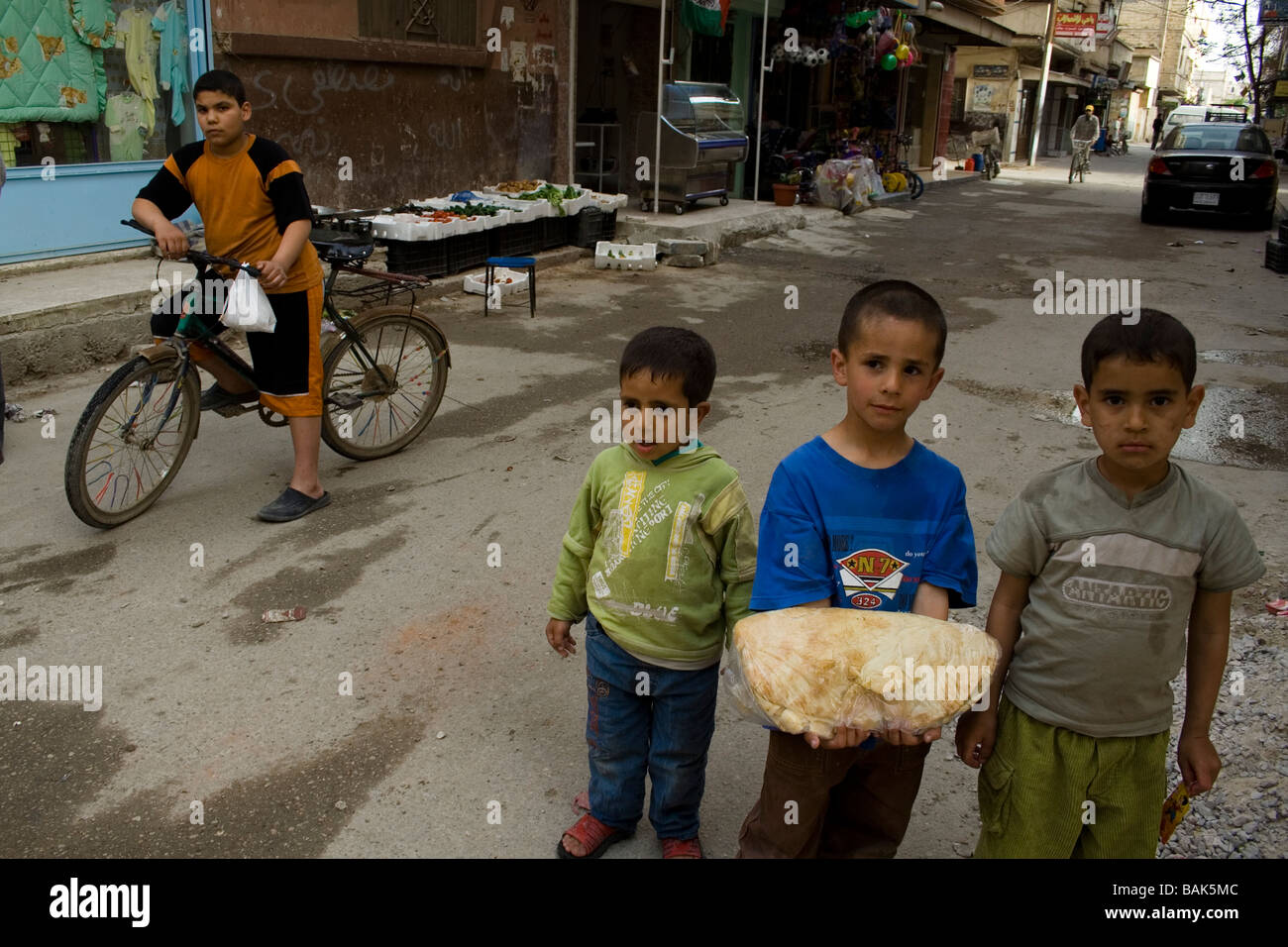 Children in Homs Palestinian refugee camp, Syria - Stock Image