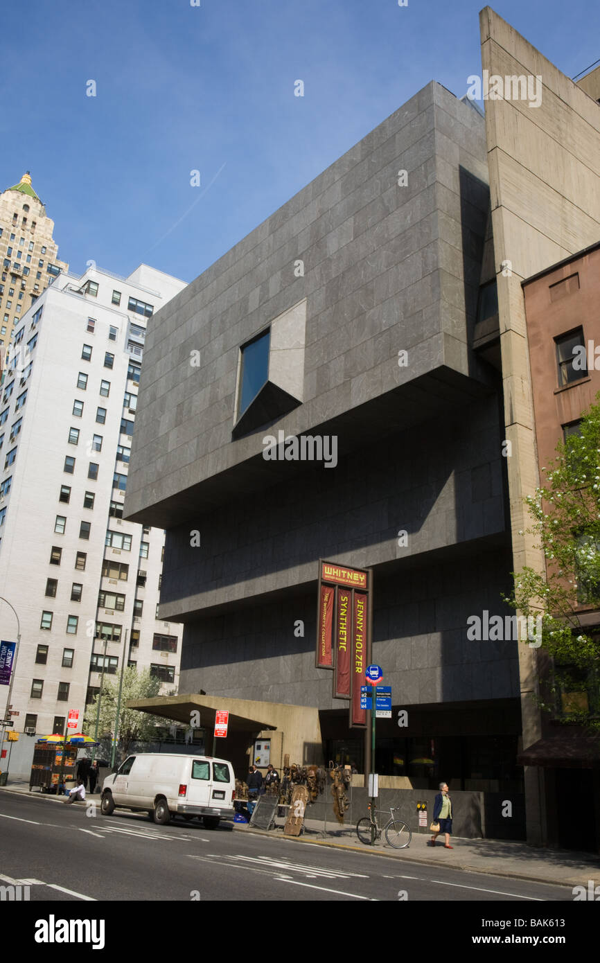 Whitney Museum of Art exterior by Marcel Breuer New York City - Stock Image