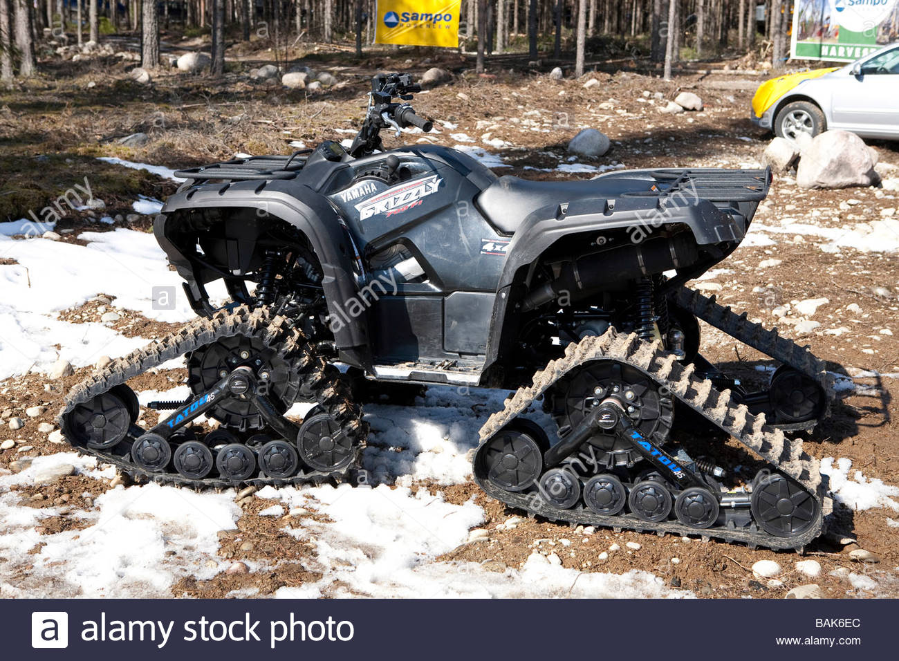 A Yamaha made ATV All Terrain Vechile with friction chains Finland - Stock Image