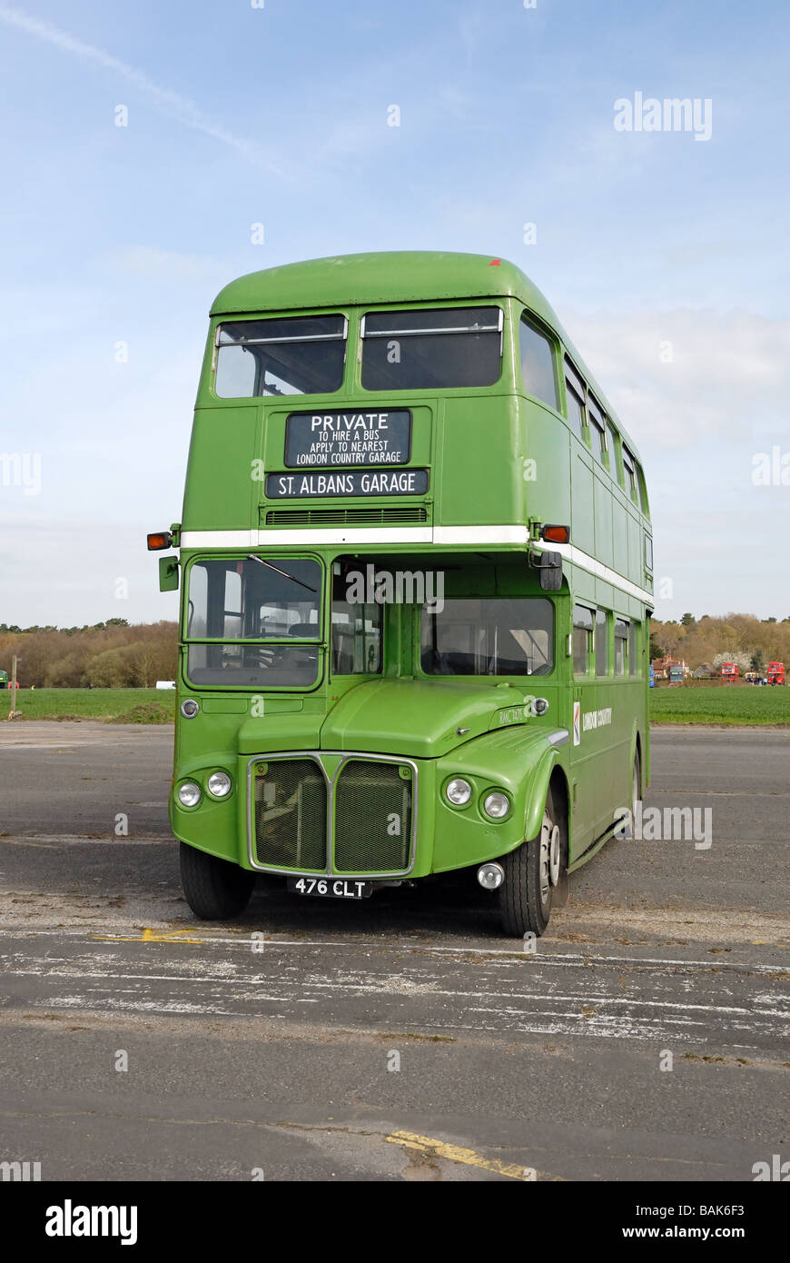 Head on view of 476 CLT green livery 1962 AEC Routemaster R2R London Country RMC 1476 with Park Royal body at the - Stock Image