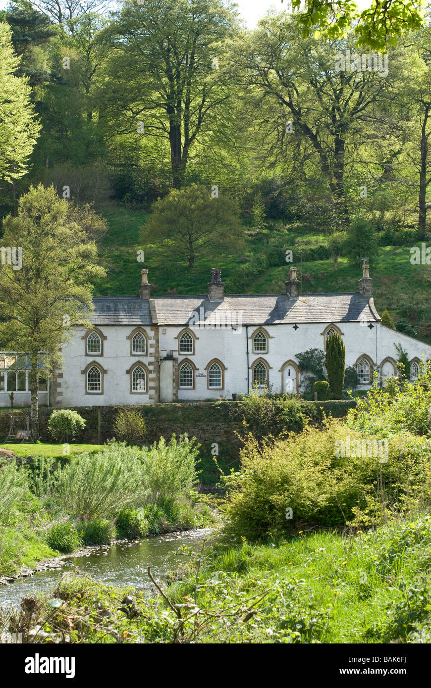 Cottages at Whalley in Lancashire by the River Calder - Stock Image