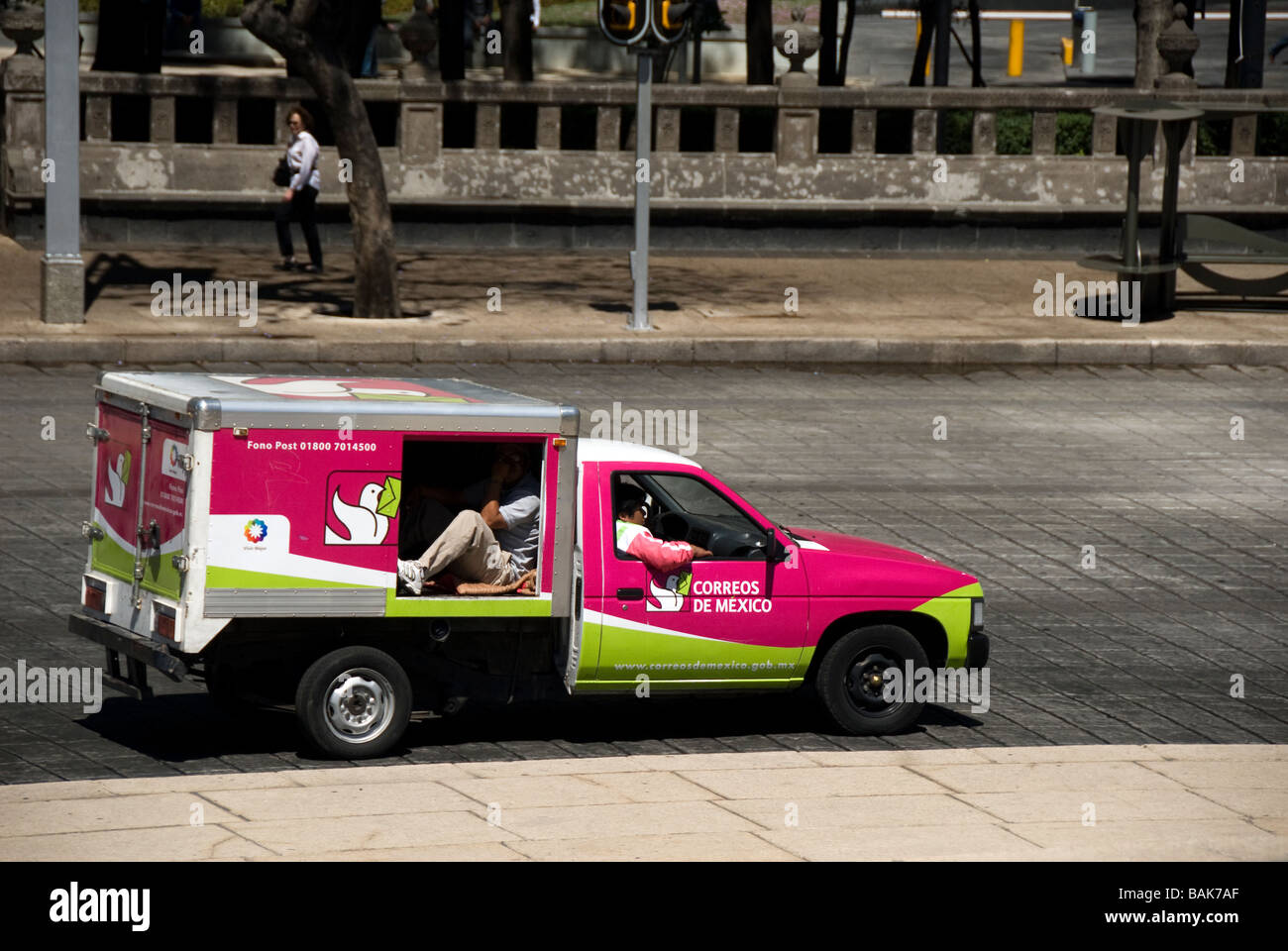 Postoffice car, mail delivery, Mexico city, Mexico - Stock Image