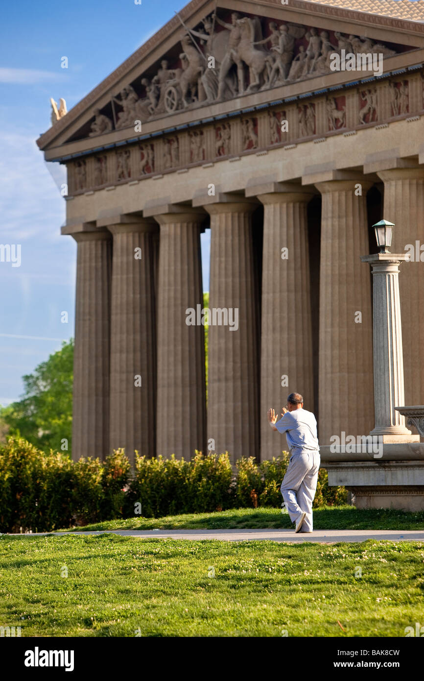 Tai Chi in front of the Parthenon in Nashville Tennessee USA - Stock Image