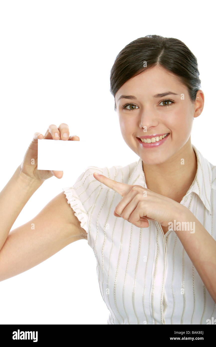 young woman holding blank business card - Stock Image